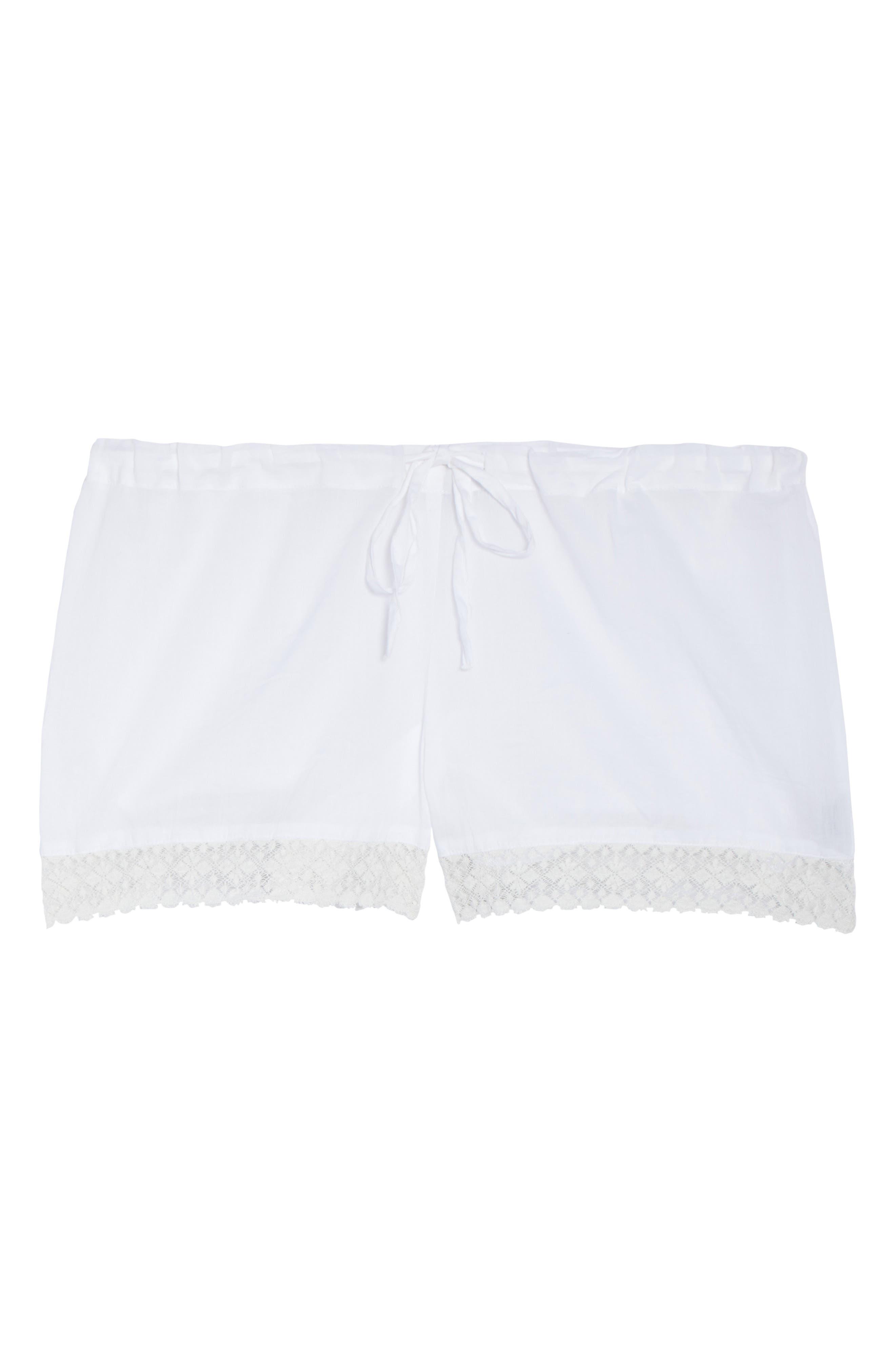 Lace Trim Sleep Shorts,                             Alternate thumbnail 4, color,                             White
