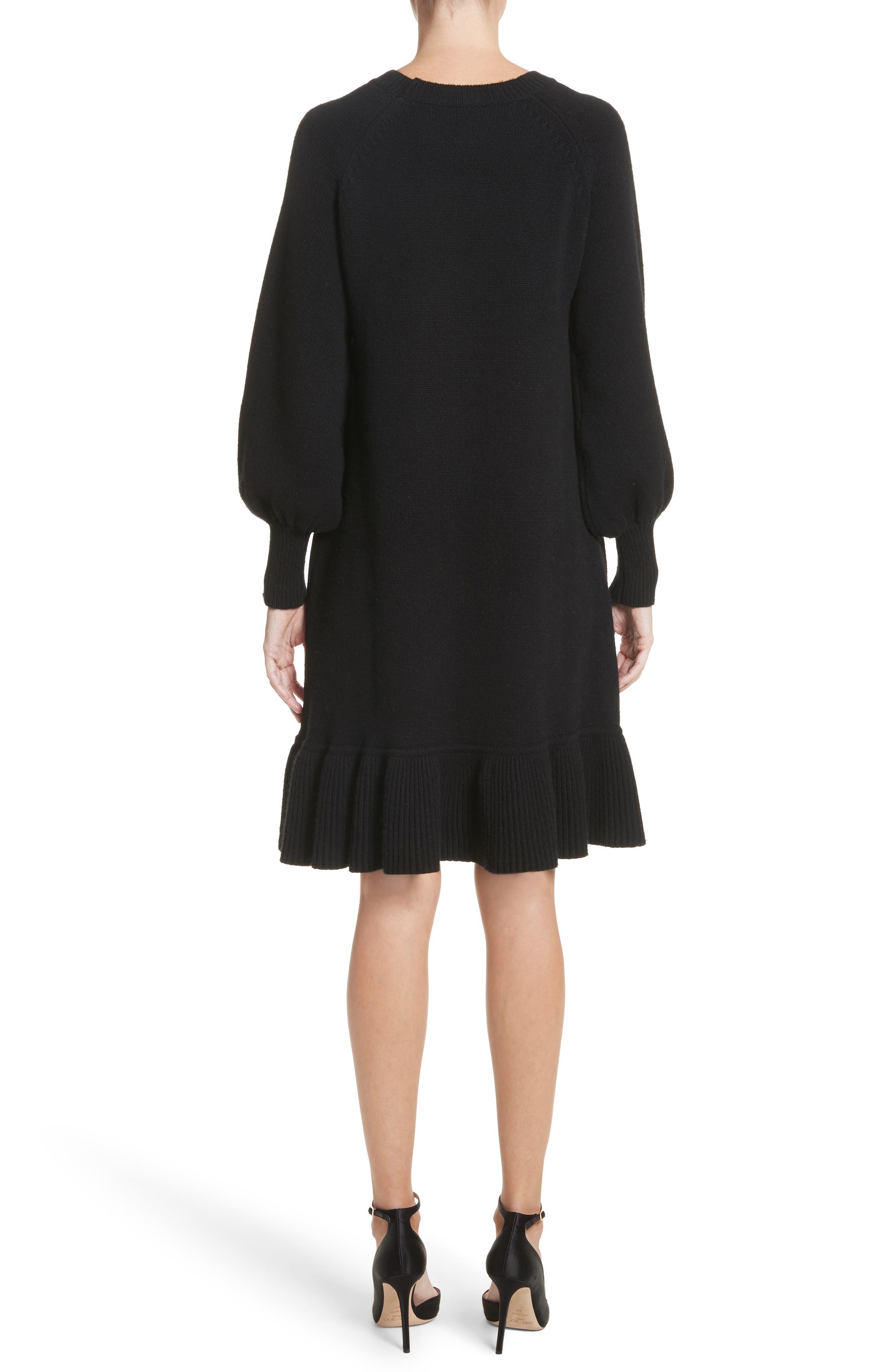 Ruffle Wool & Cashmere Sweater Dress,                             Alternate thumbnail 2, color,                             Black