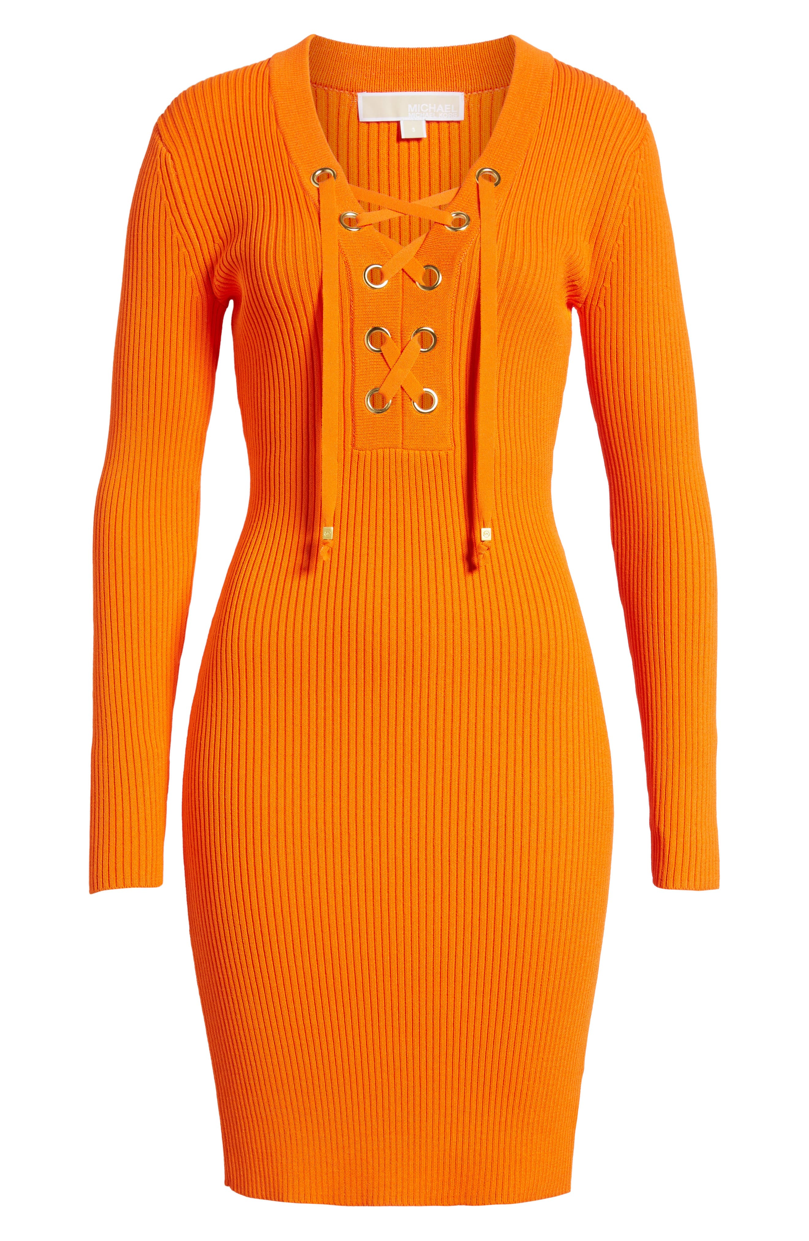 Alternate Image 6  - MICHAEL Michael Kors Lace-Up Ribbed Dress