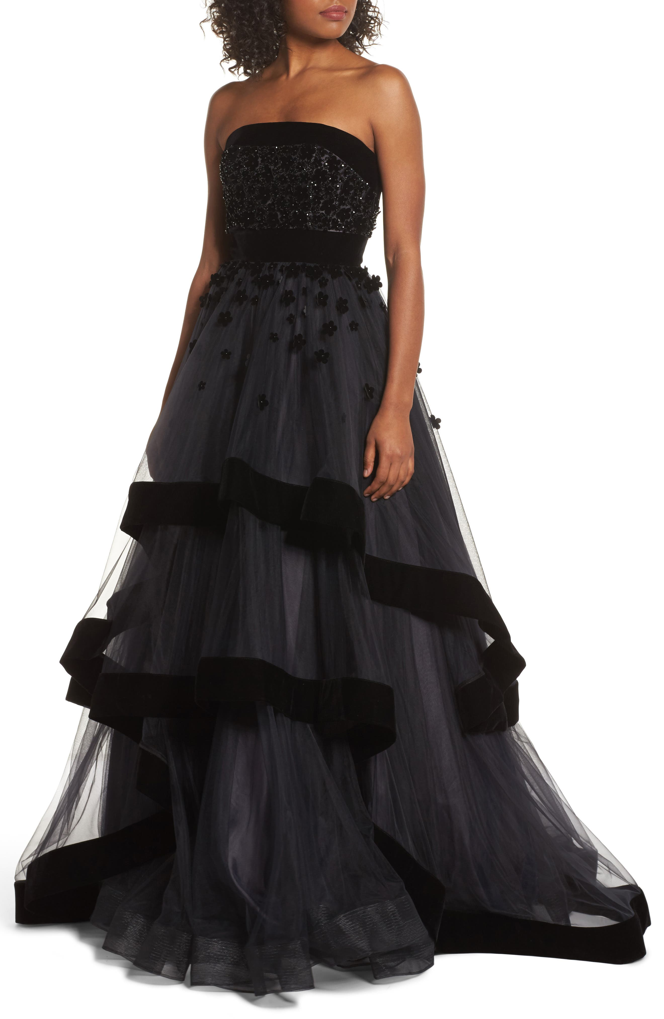 MAC DUGGAL Strapless Tiered Gown With Velvet Trim & Floral Appliques in Black
