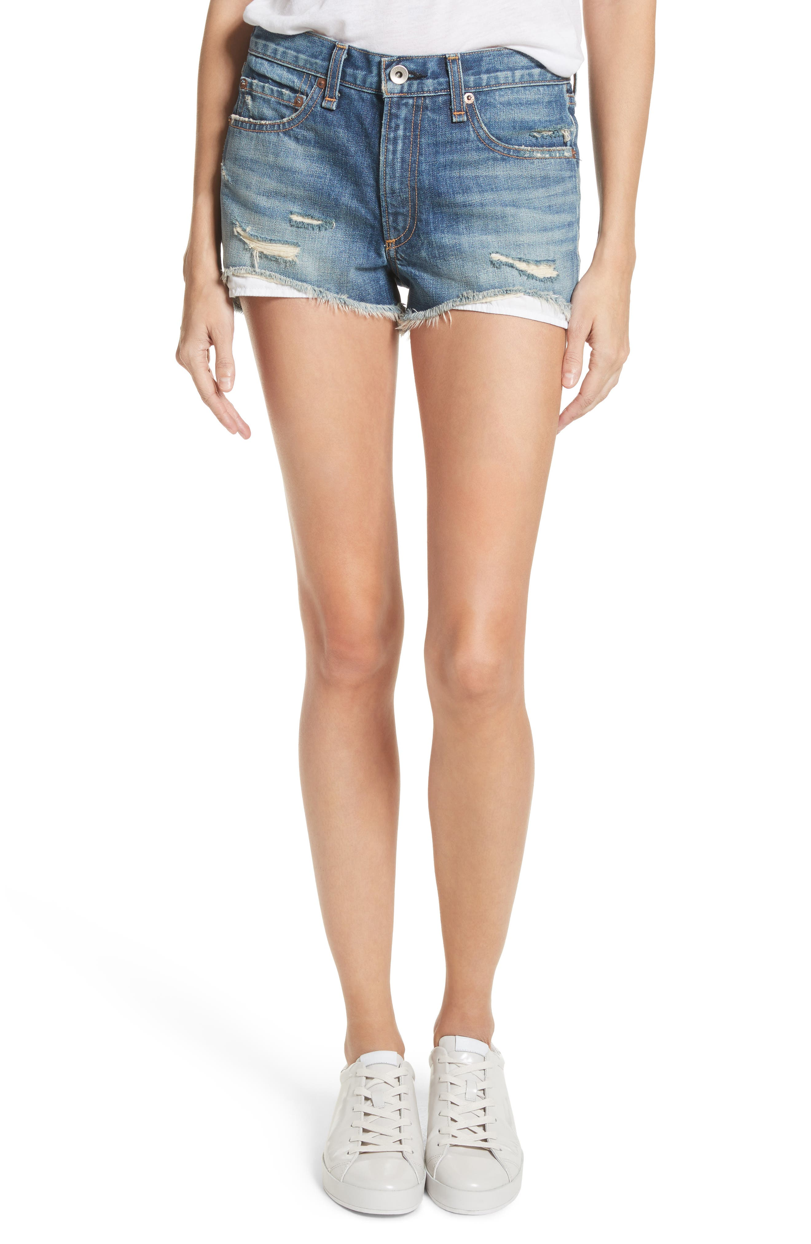 Margaux High Waist Denim Shorts,                             Main thumbnail 1, color,                             Rocka Rolla