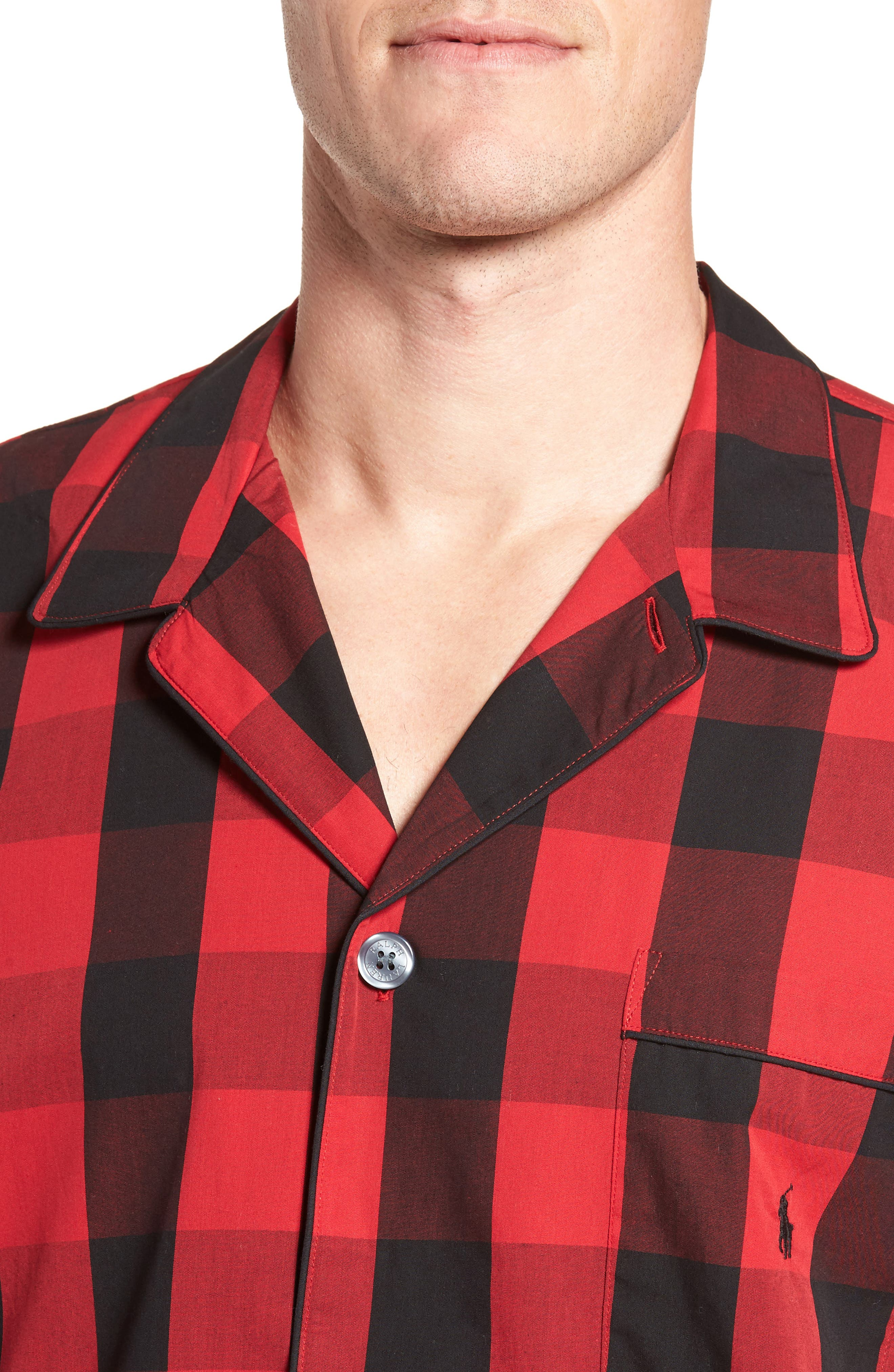 Cotton Pajama Shirt,                             Alternate thumbnail 4, color,                             Montana Plaid/ Polo Black