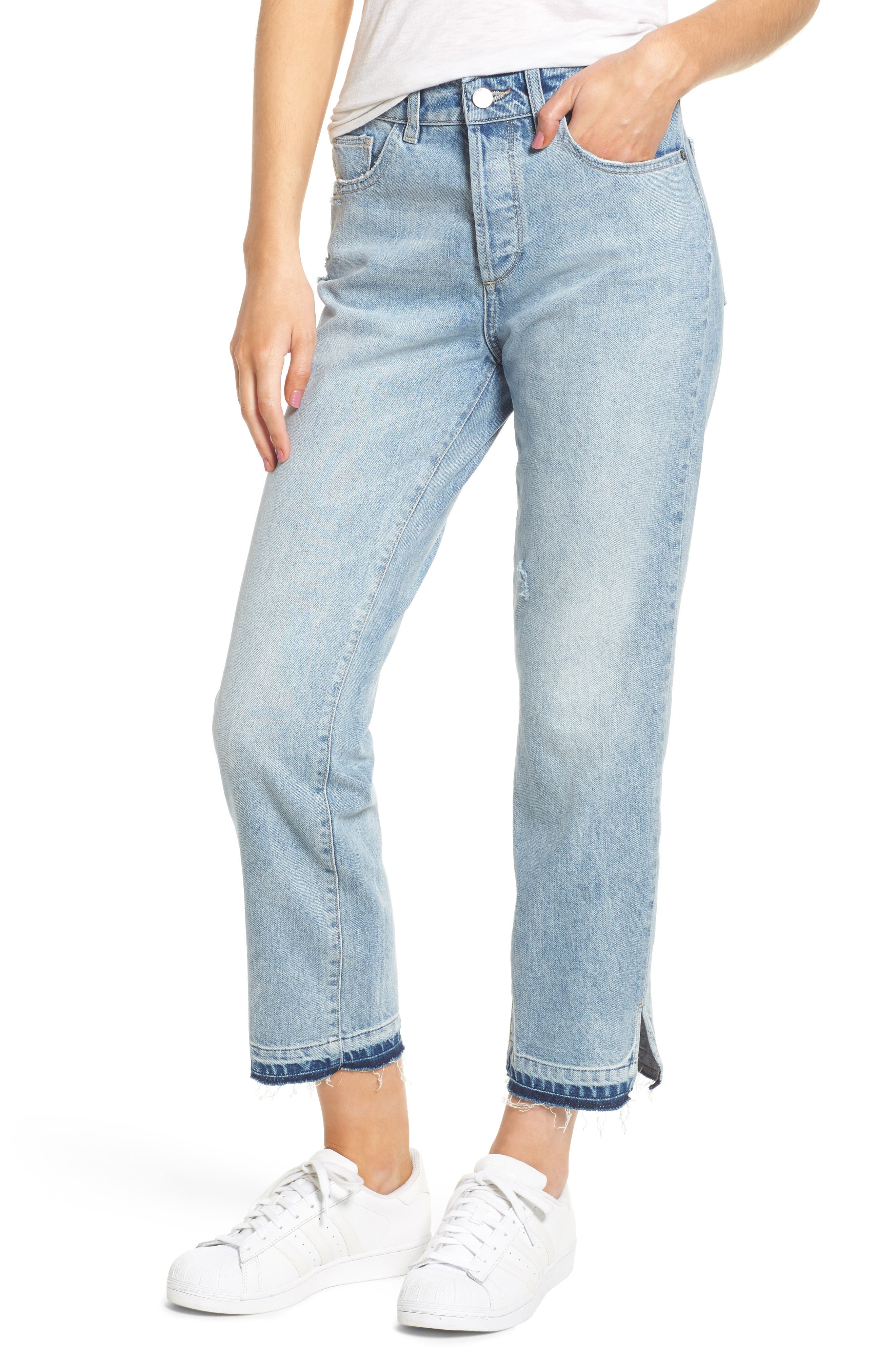 Patti Crop Straight Leg Jeans,                             Main thumbnail 1, color,                             Deluxe