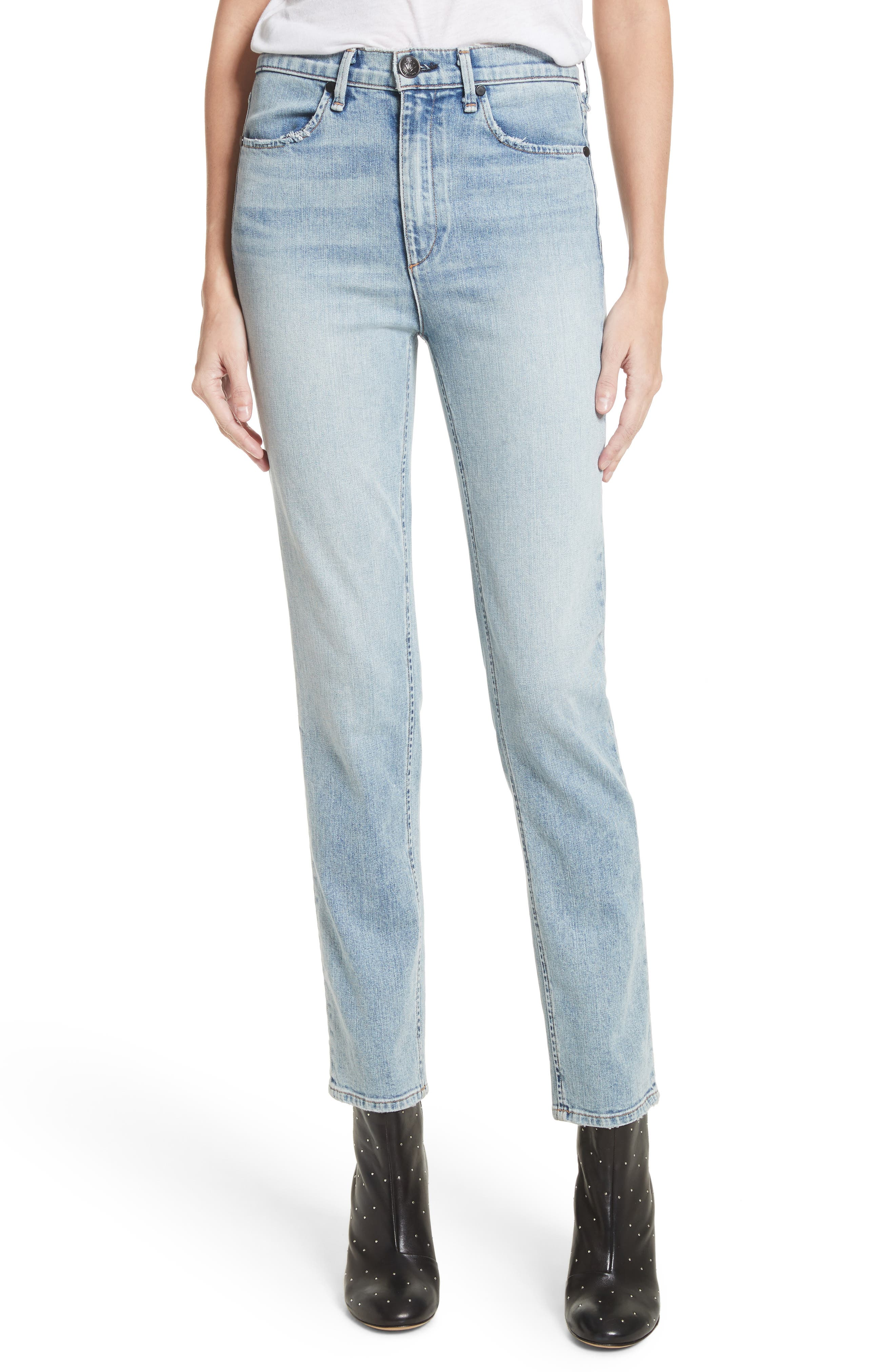 Main Image - rag & bone/JEAN Cigarette Leg Jeans (Double Down)