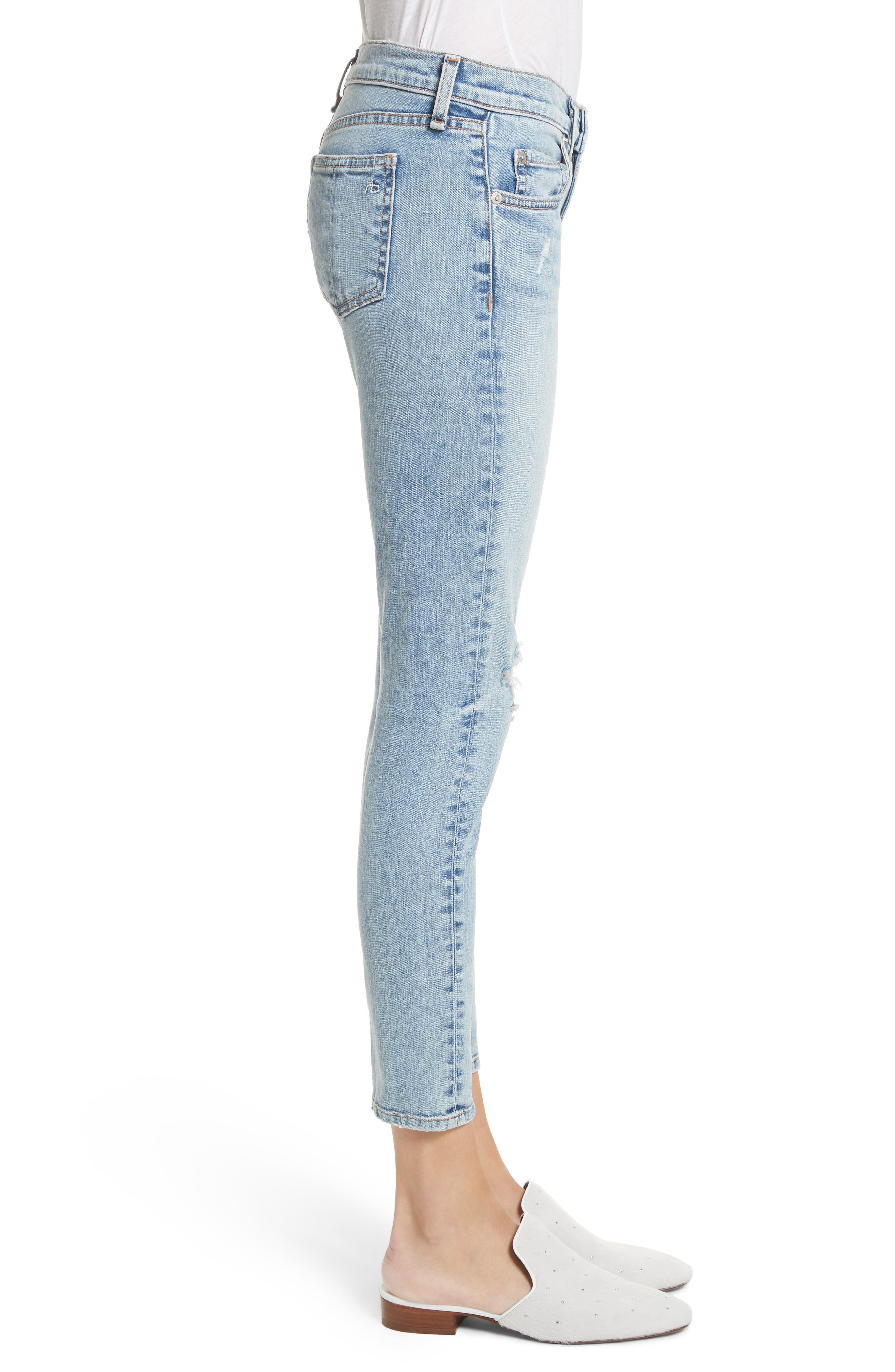 Ankle Skinny Jeans,                             Alternate thumbnail 3, color,                             Double