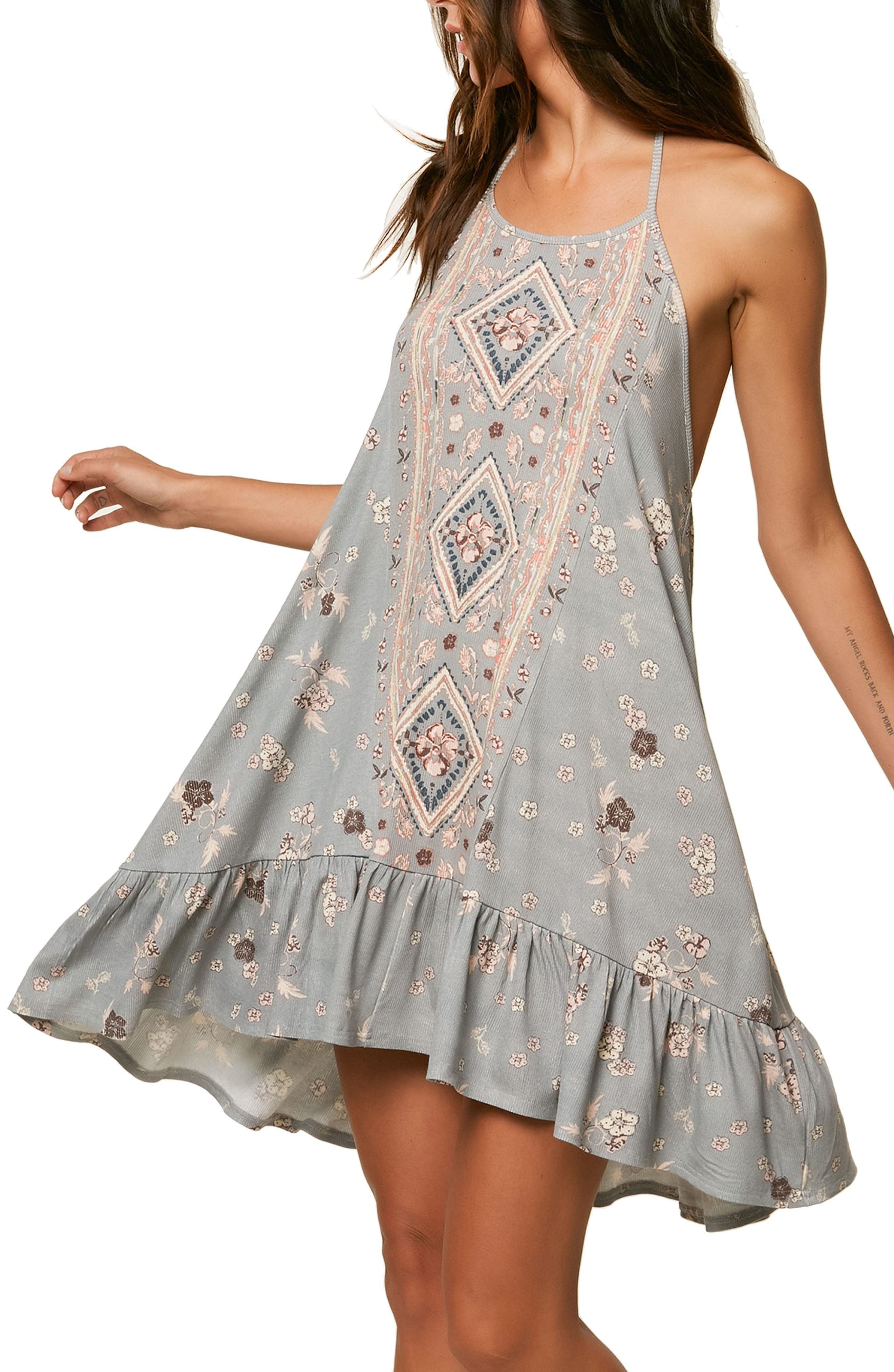 Sonoma Print Halter Dress,                             Main thumbnail 1, color,                             Neutral Gray