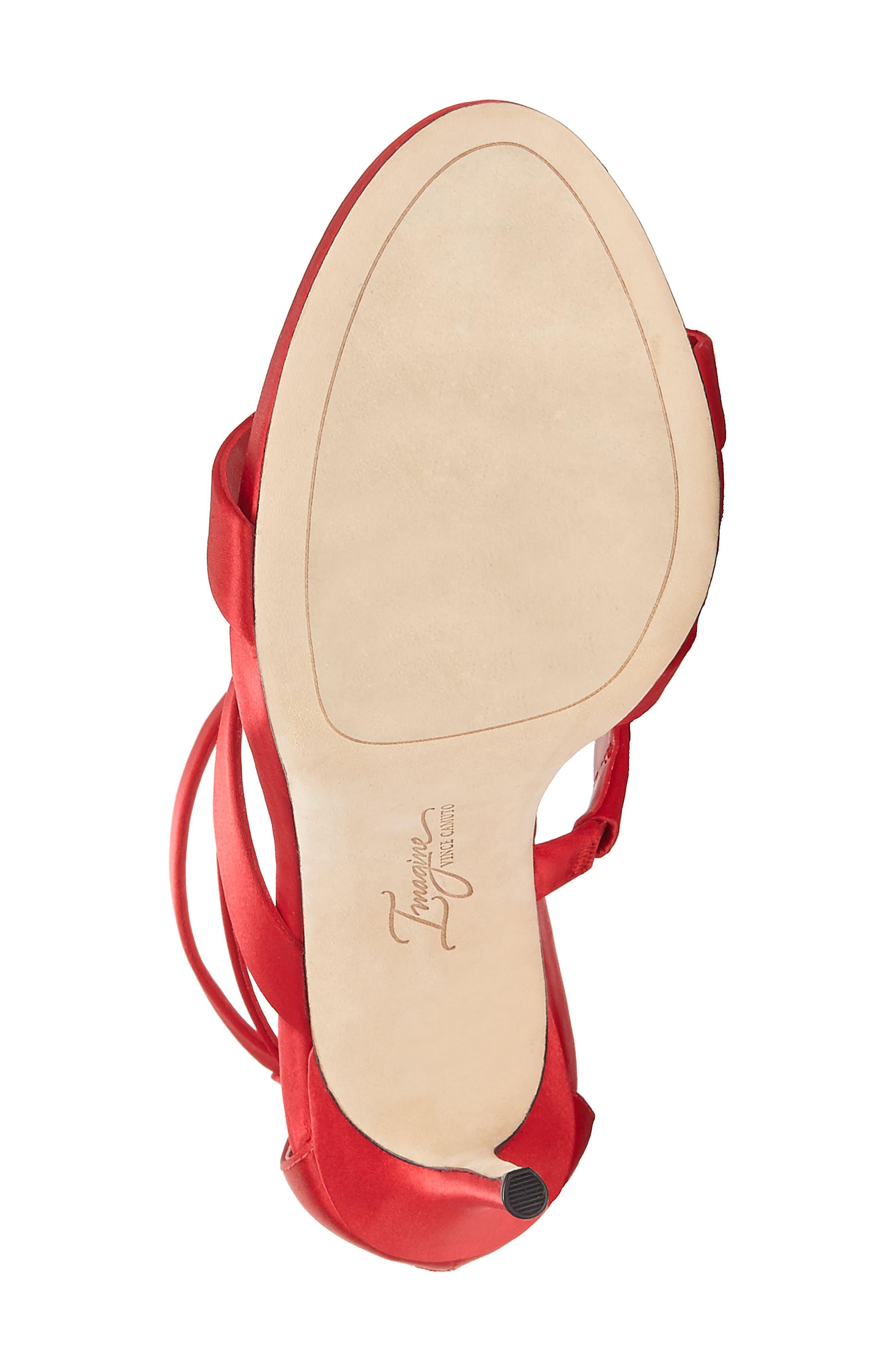 Imagine Vince Camuto Dalles Tall Strappy Sandal,                             Alternate thumbnail 6, color,                             Crimson Satin