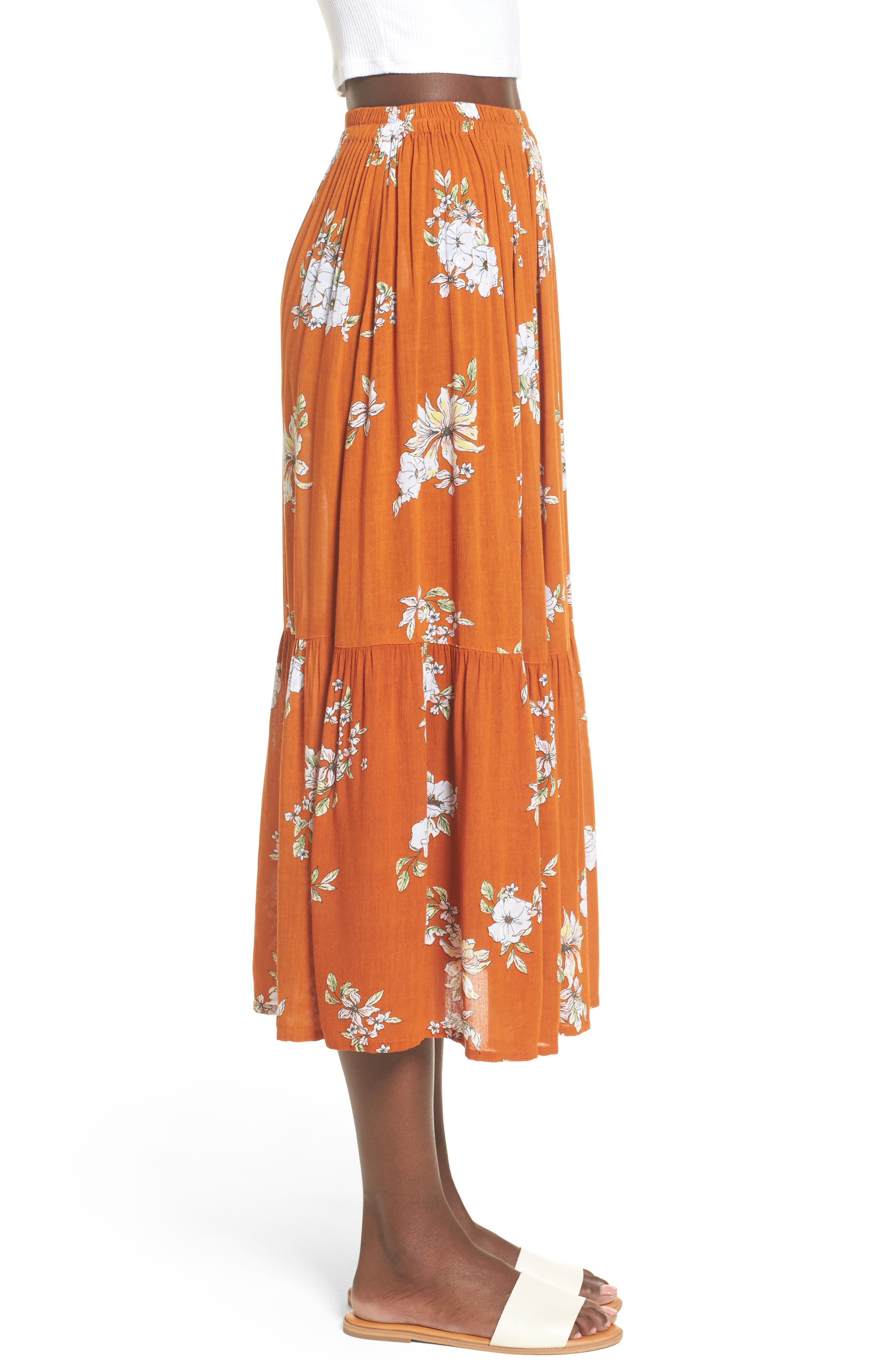 Alternate Image 3  - FAITHFULL THE BRAND Rosewood Floral Tiered Skirt