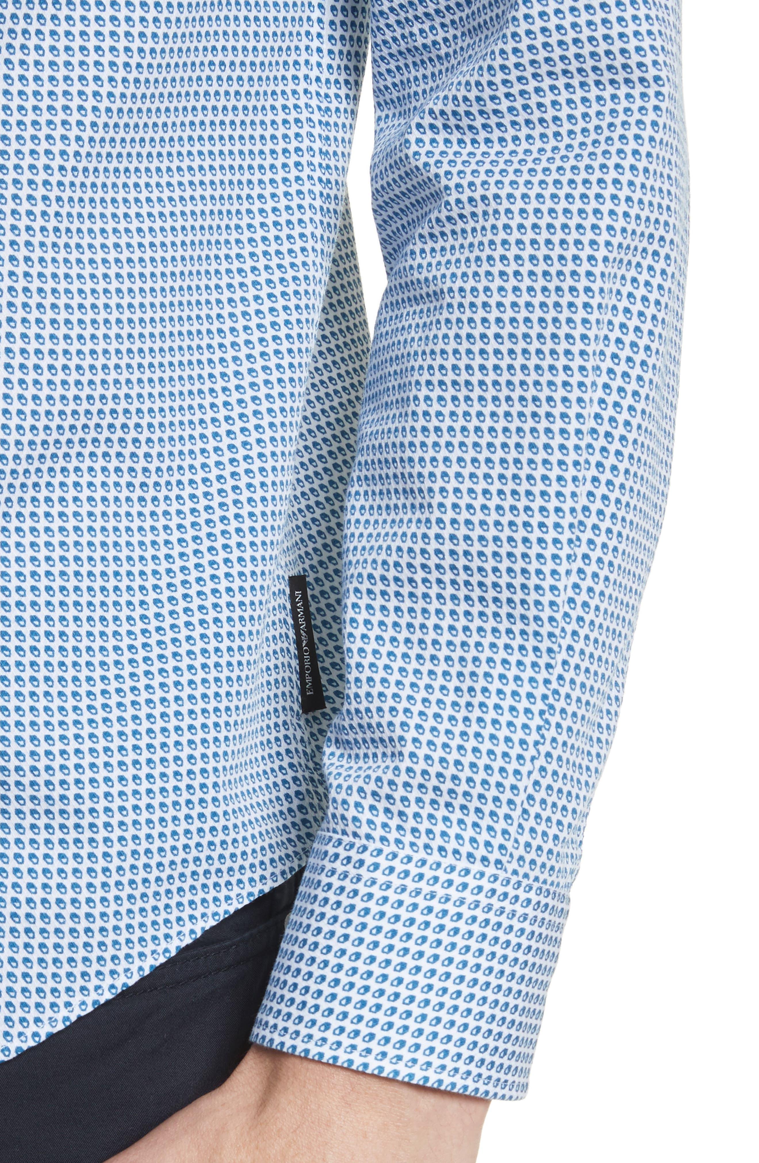 Geo Print Regular Fit Sport Shirt,                             Alternate thumbnail 4, color,                             Blue
