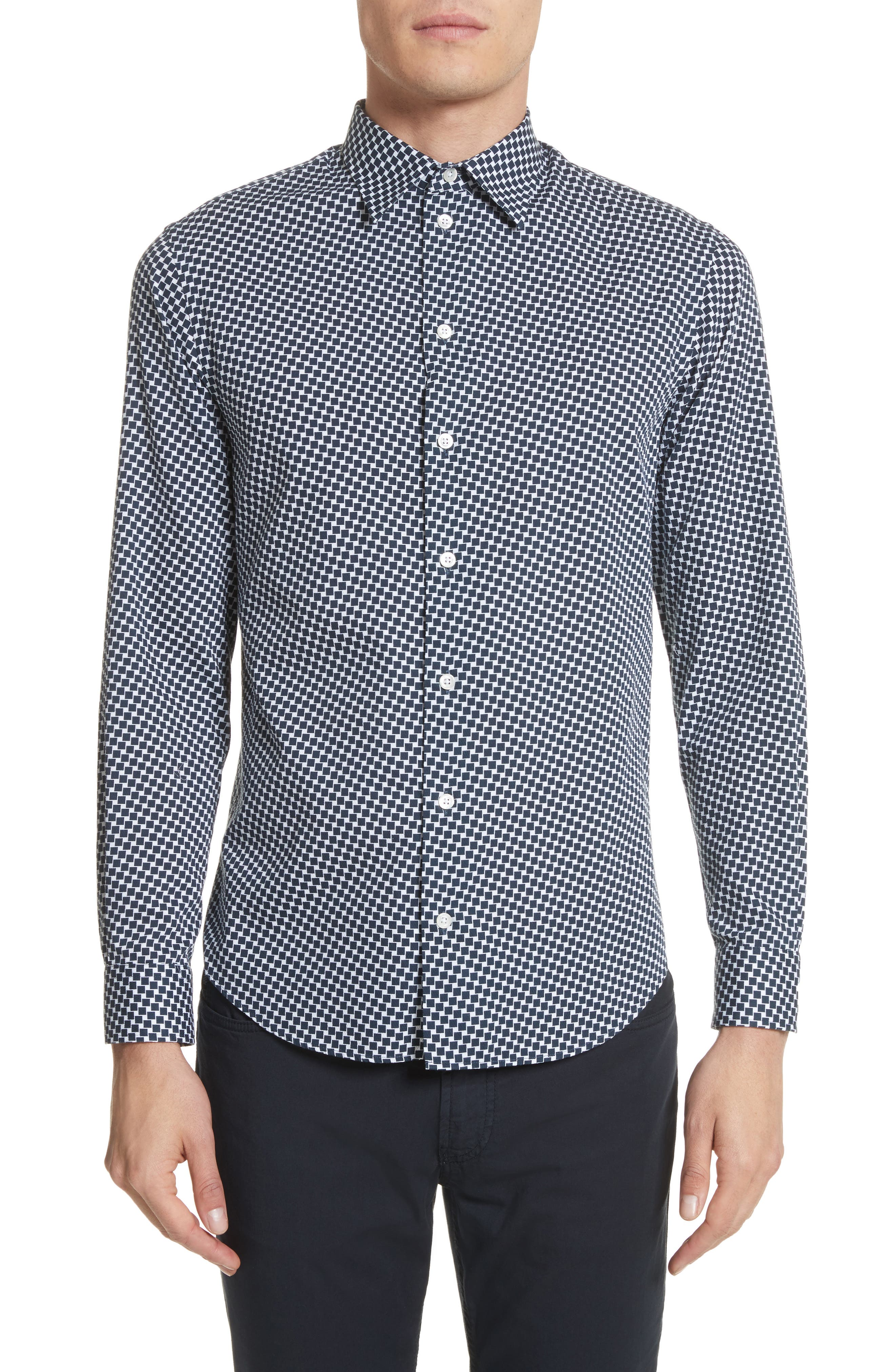 Rectangle Print Regular Fit Sport Shirt,                             Main thumbnail 1, color,                             Navy
