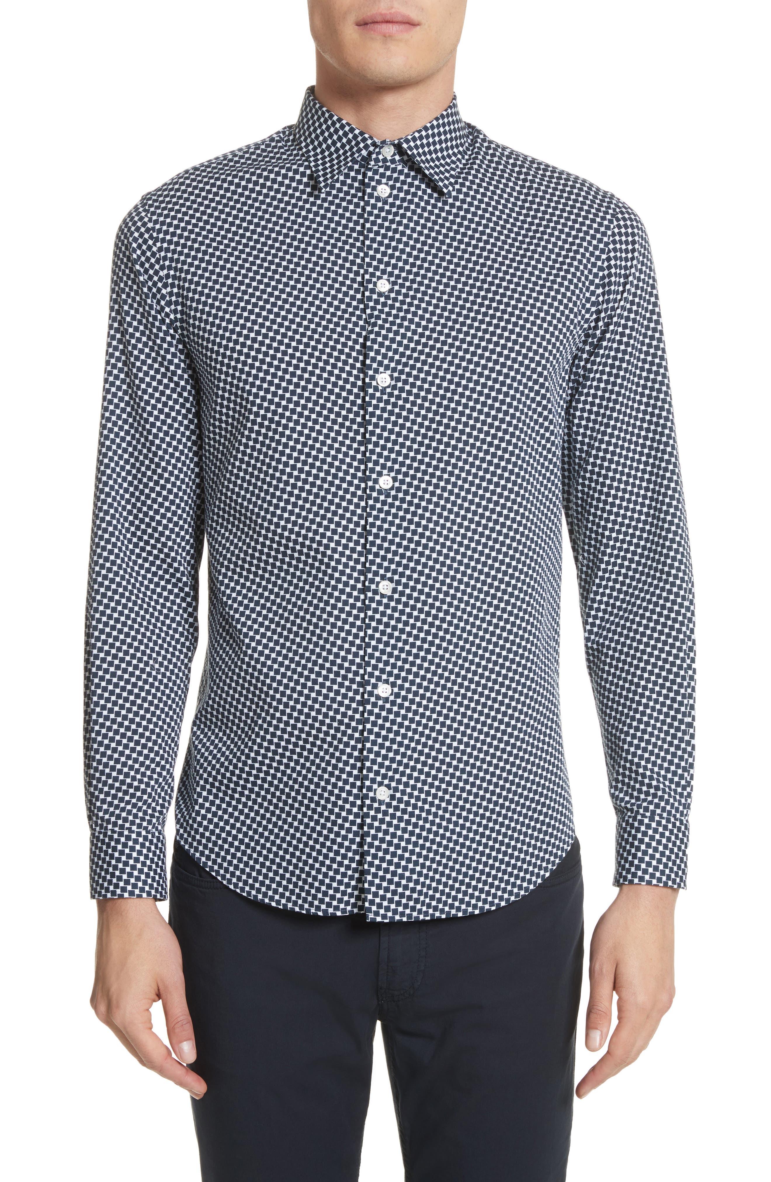 Emporio Armani Rectangle Print Regular Fit Sport Shirt