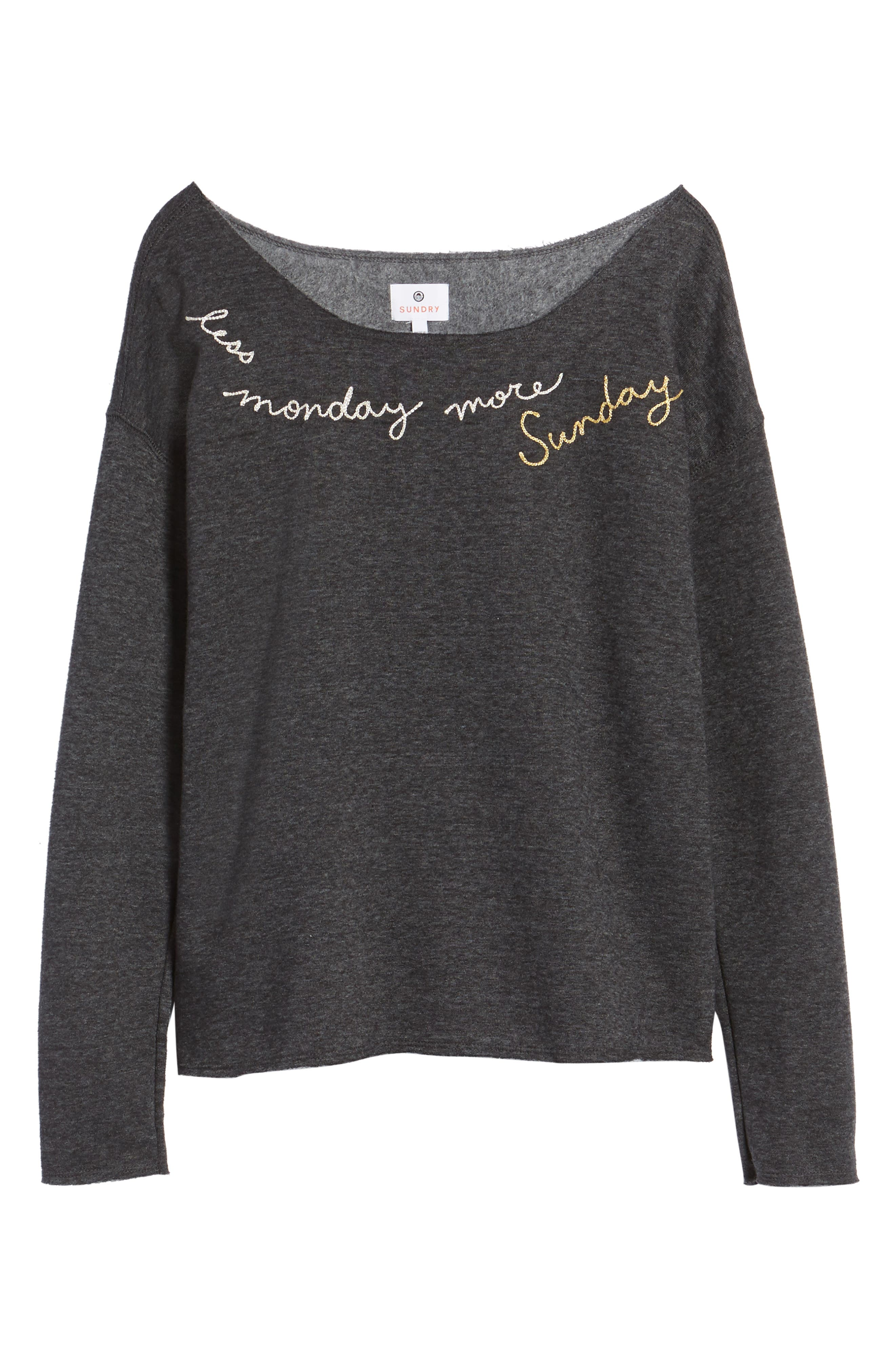 Less Monday More Sunday Sweatshirt,                             Alternate thumbnail 6, color,                             Charcoal