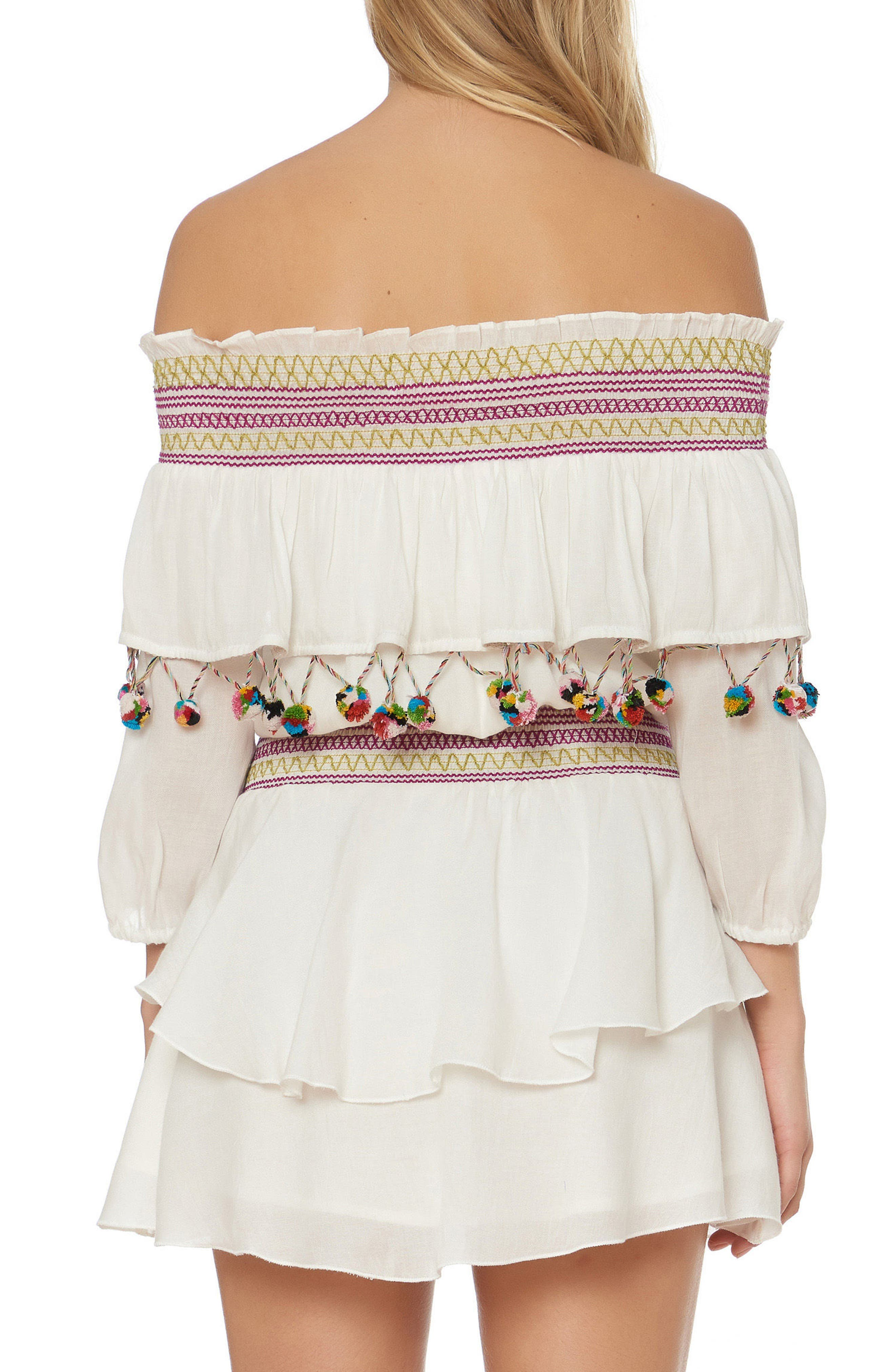 Mira Smocked Off the Shoulder Cover-Up Dress,                             Alternate thumbnail 2, color,                             Ivory