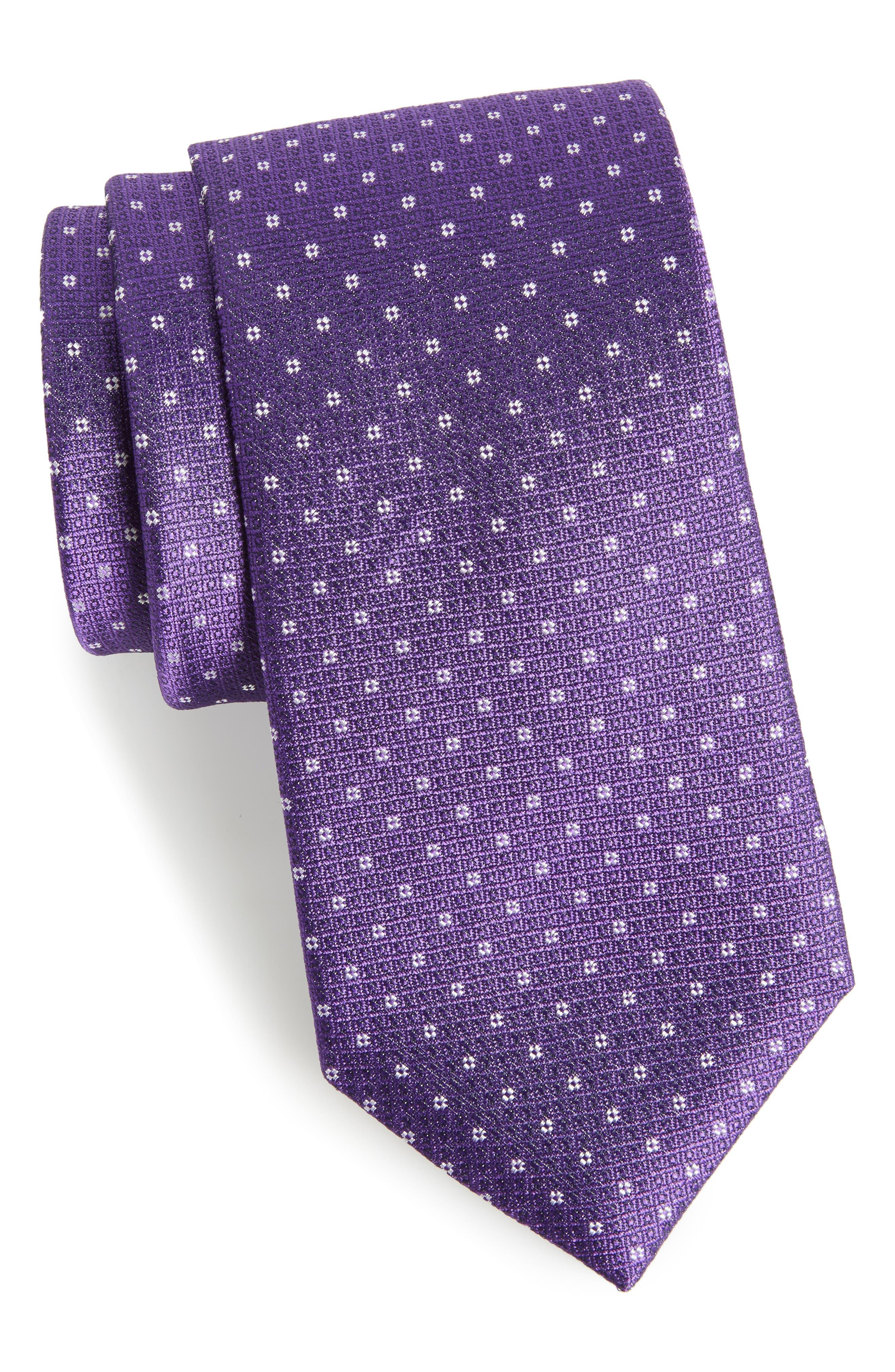 Denson Neat Silk Tie,                         Main,                         color, Purple