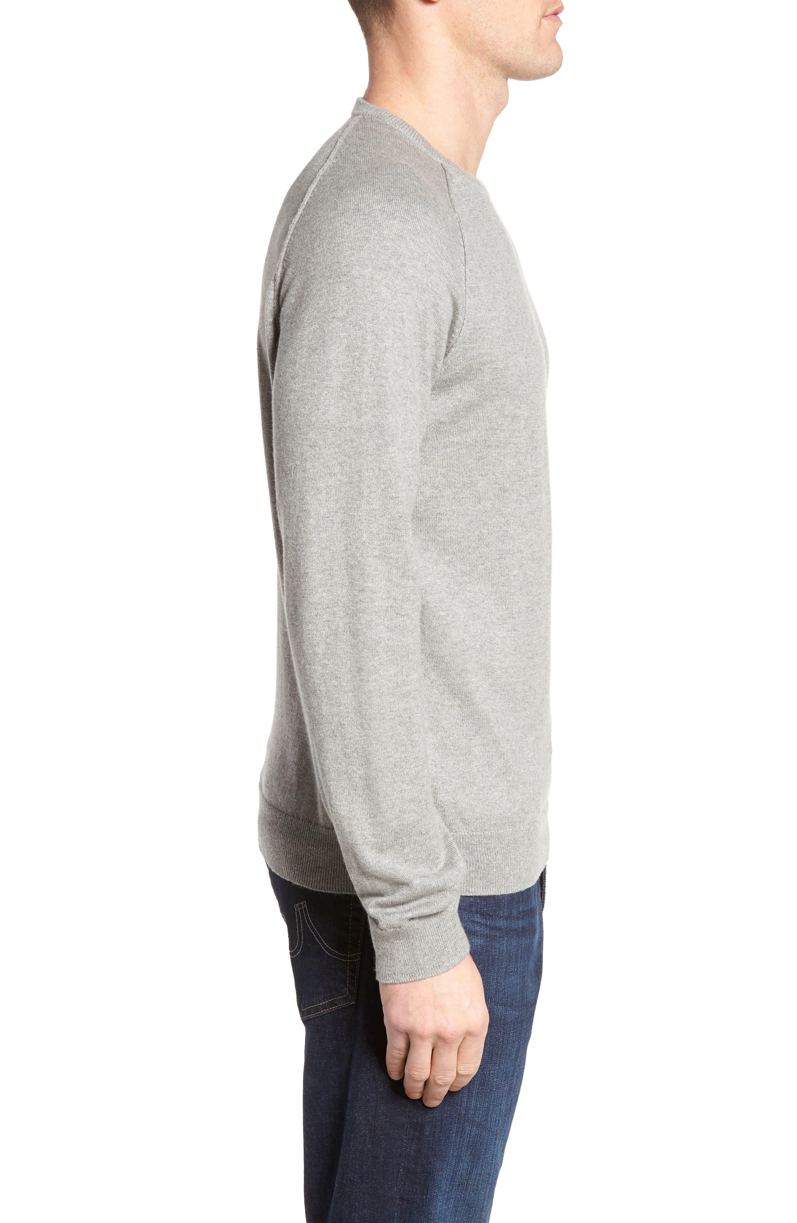 Saddle Shoulder Cotton & Cashmere Sweater,                             Alternate thumbnail 3, color,                             Grey Heather