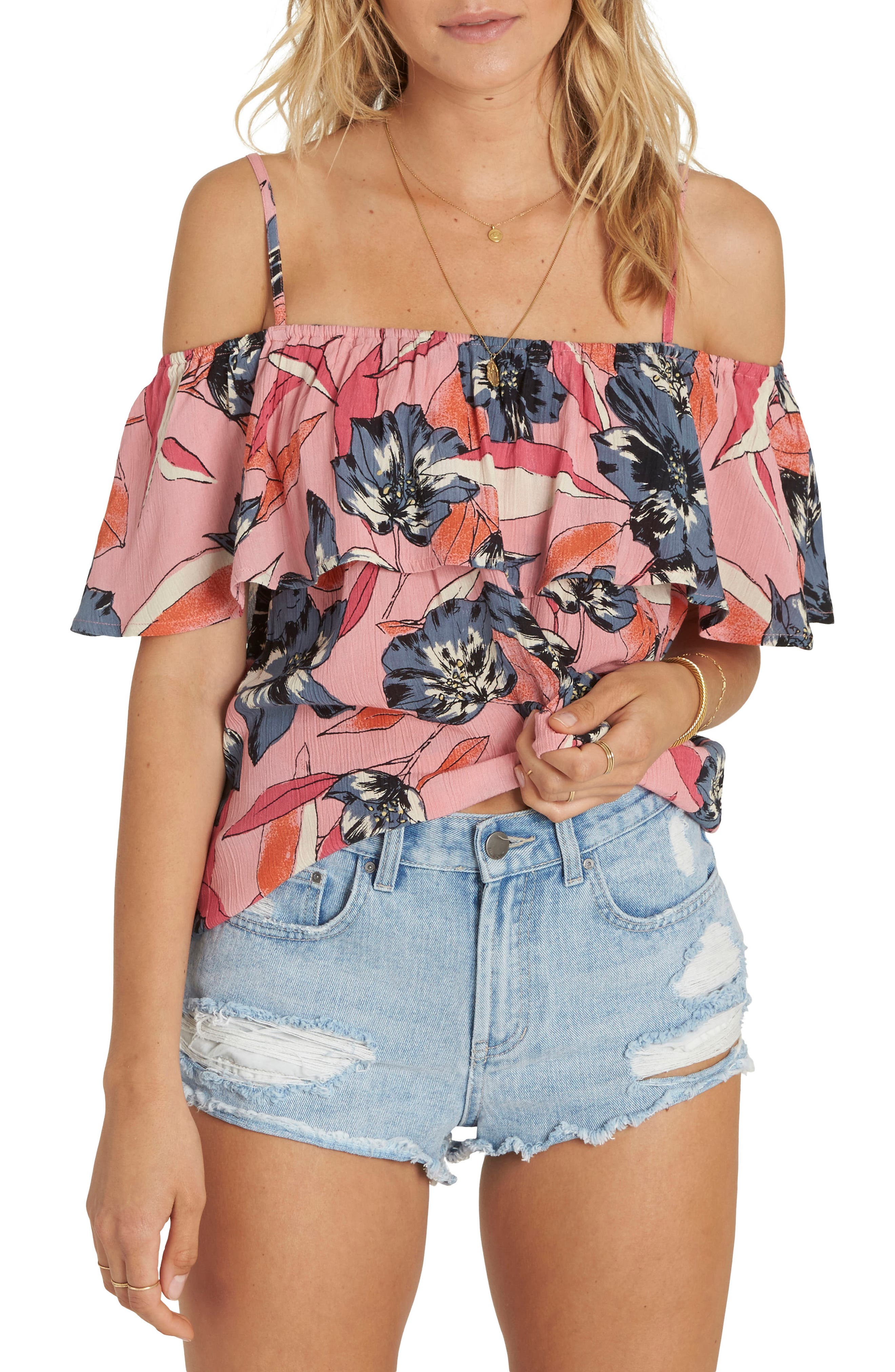 Summer Sunsets Cold Shoulder Top,                             Main thumbnail 1, color,                             Faded Rose