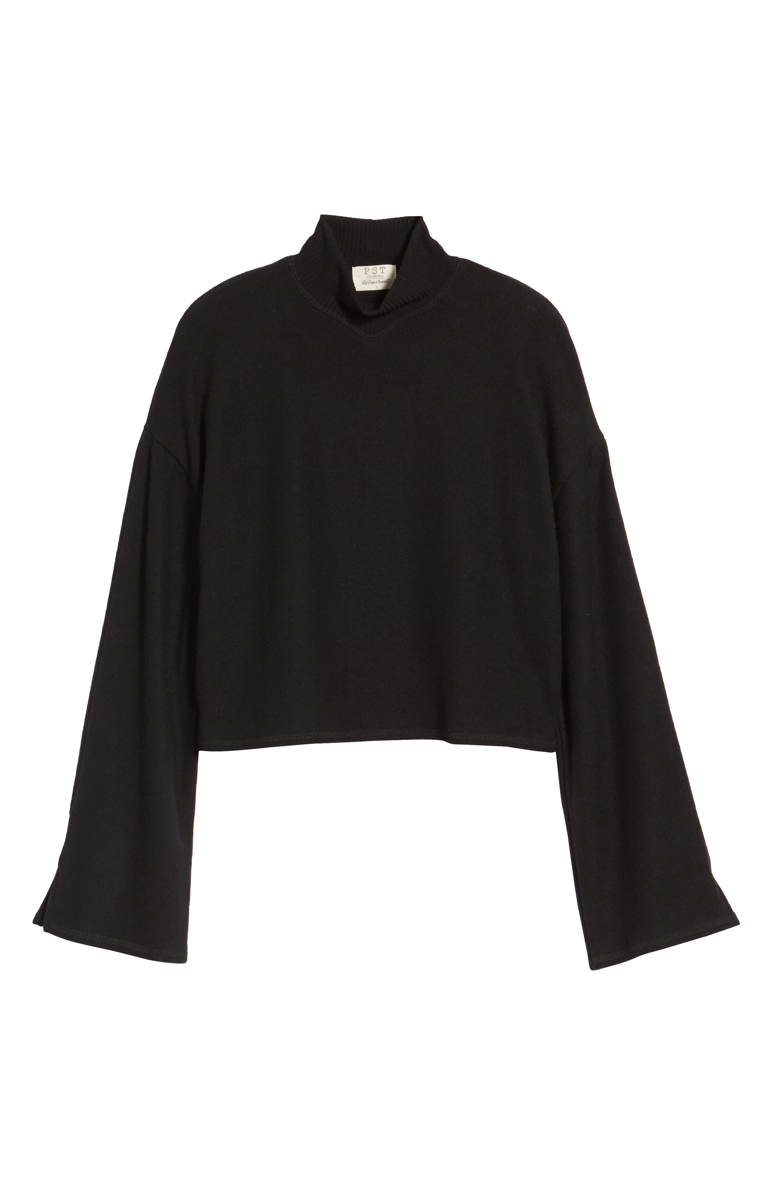Crop Mock Neck Pullover,                             Alternate thumbnail 6, color,                             Black