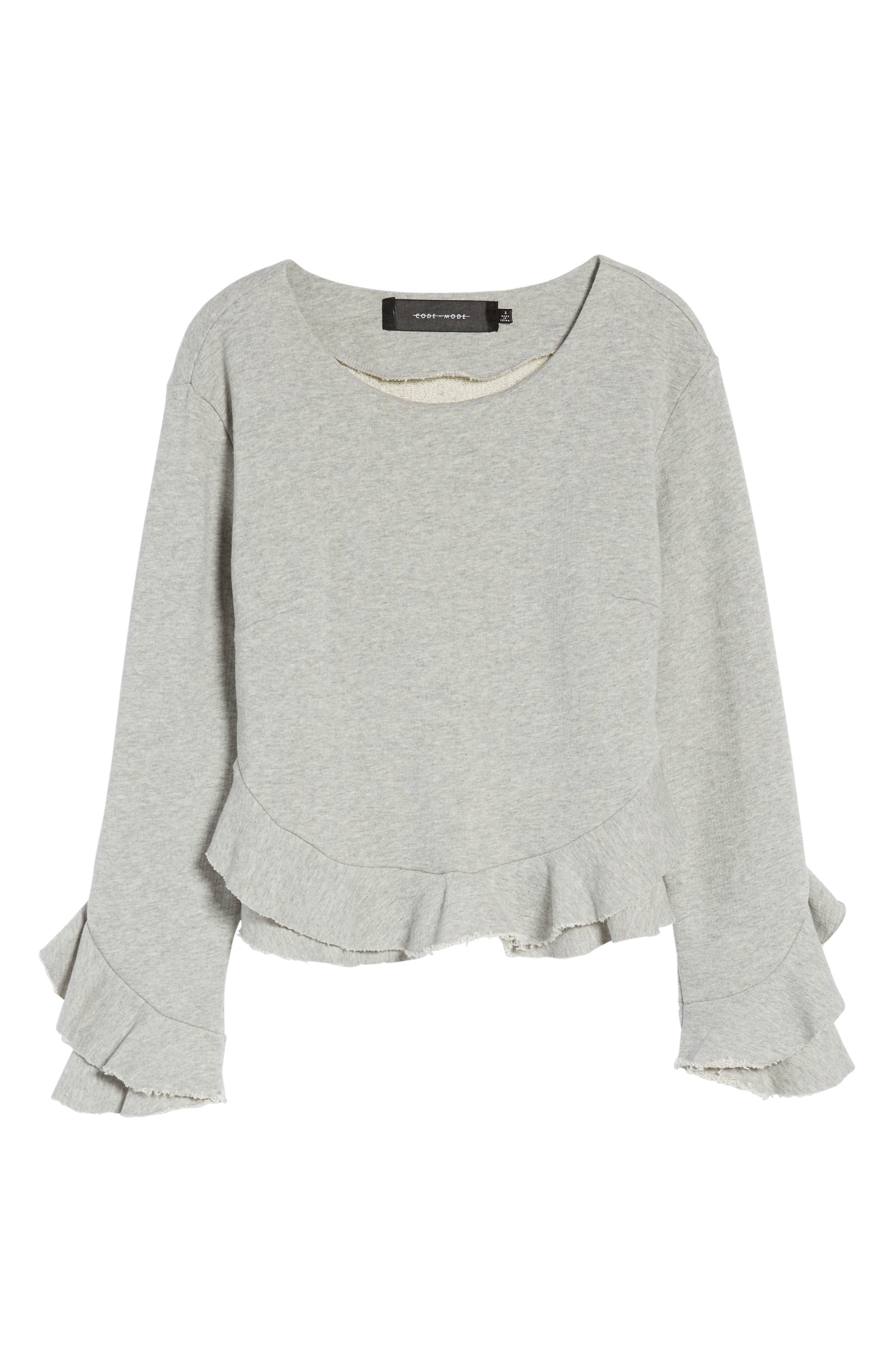 Ruffle Trim Sweatshirt,                             Alternate thumbnail 6, color,                             Heather Grey