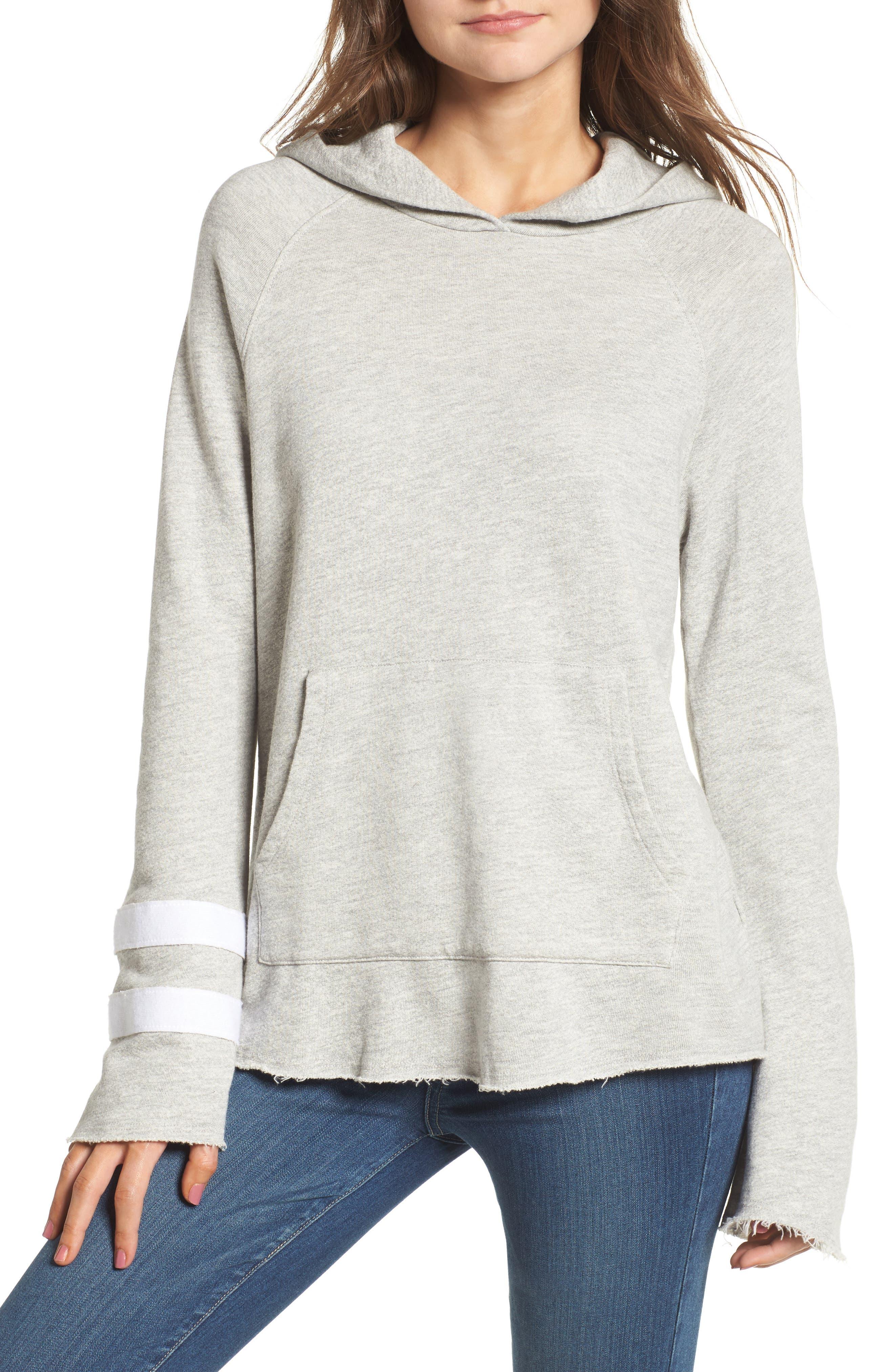 Stripe Bell Sleeve Hoodie,                         Main,                         color, Heather Grey