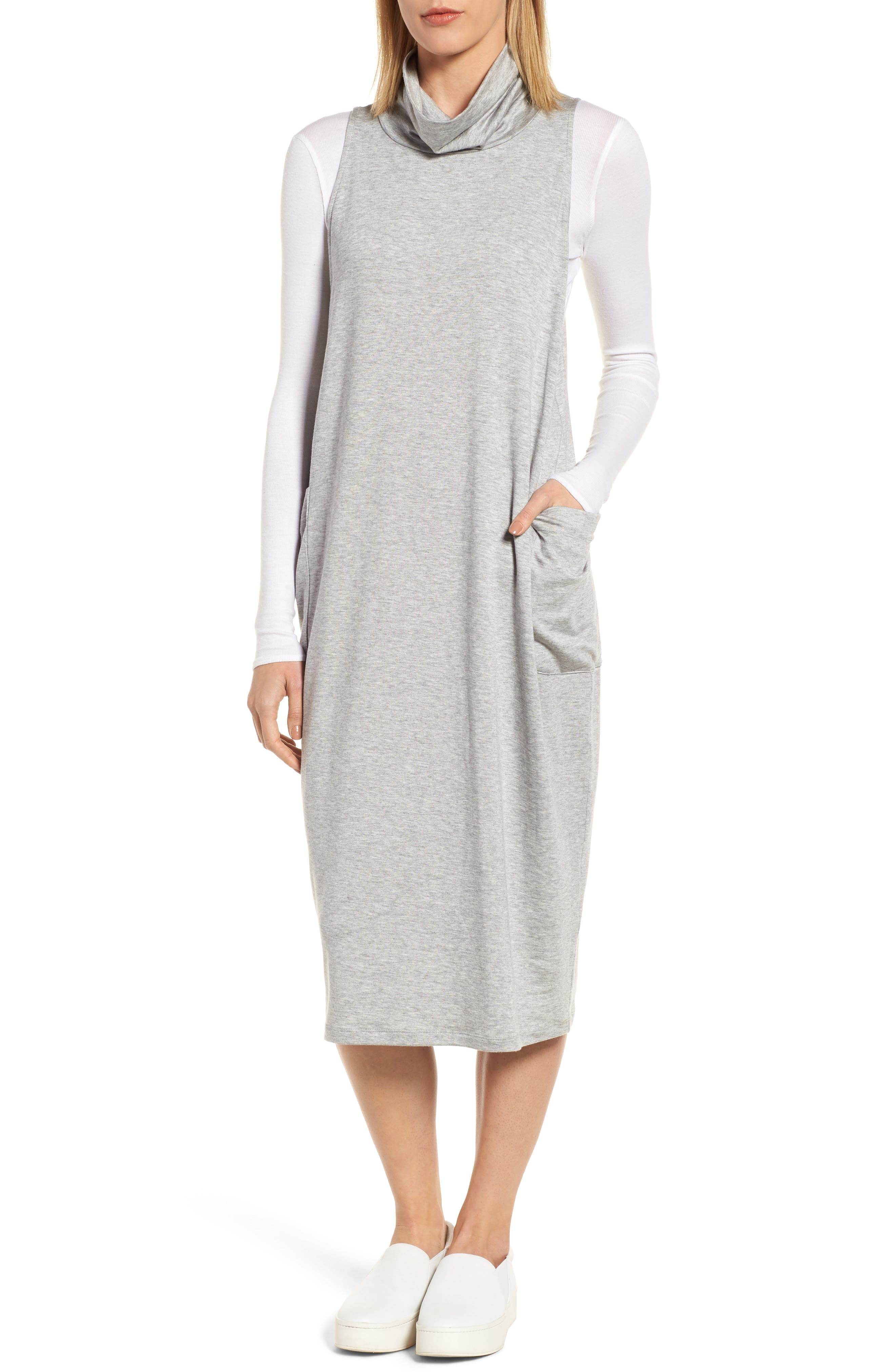 Stretch Tencel<sup>®</sup> Lyocell Knit Jumper Dress,                             Main thumbnail 1, color,                             Dark Pearl