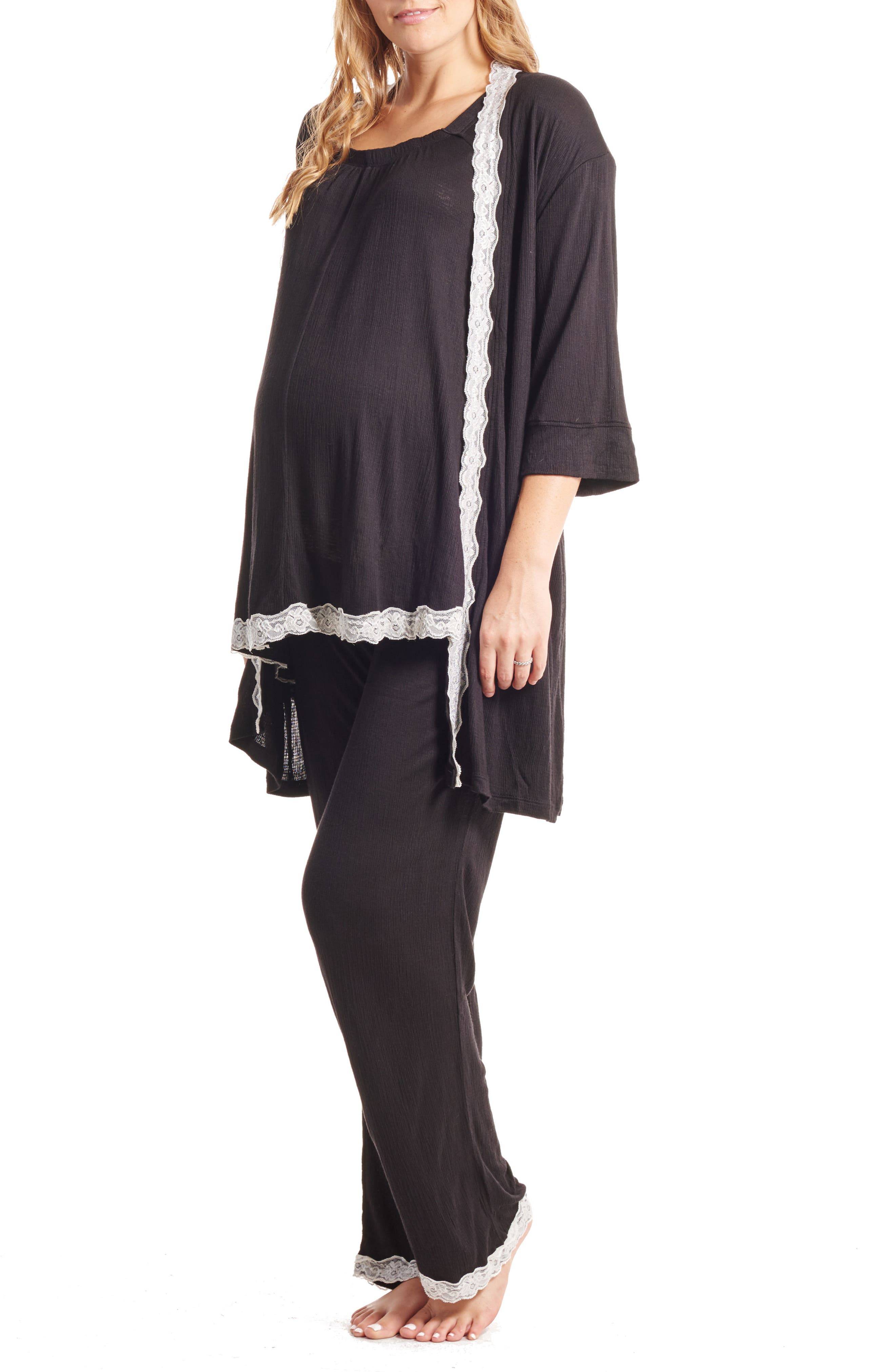 Carina Maternity/Nursing Pajamas & Robe Set,                         Main,                         color, Black