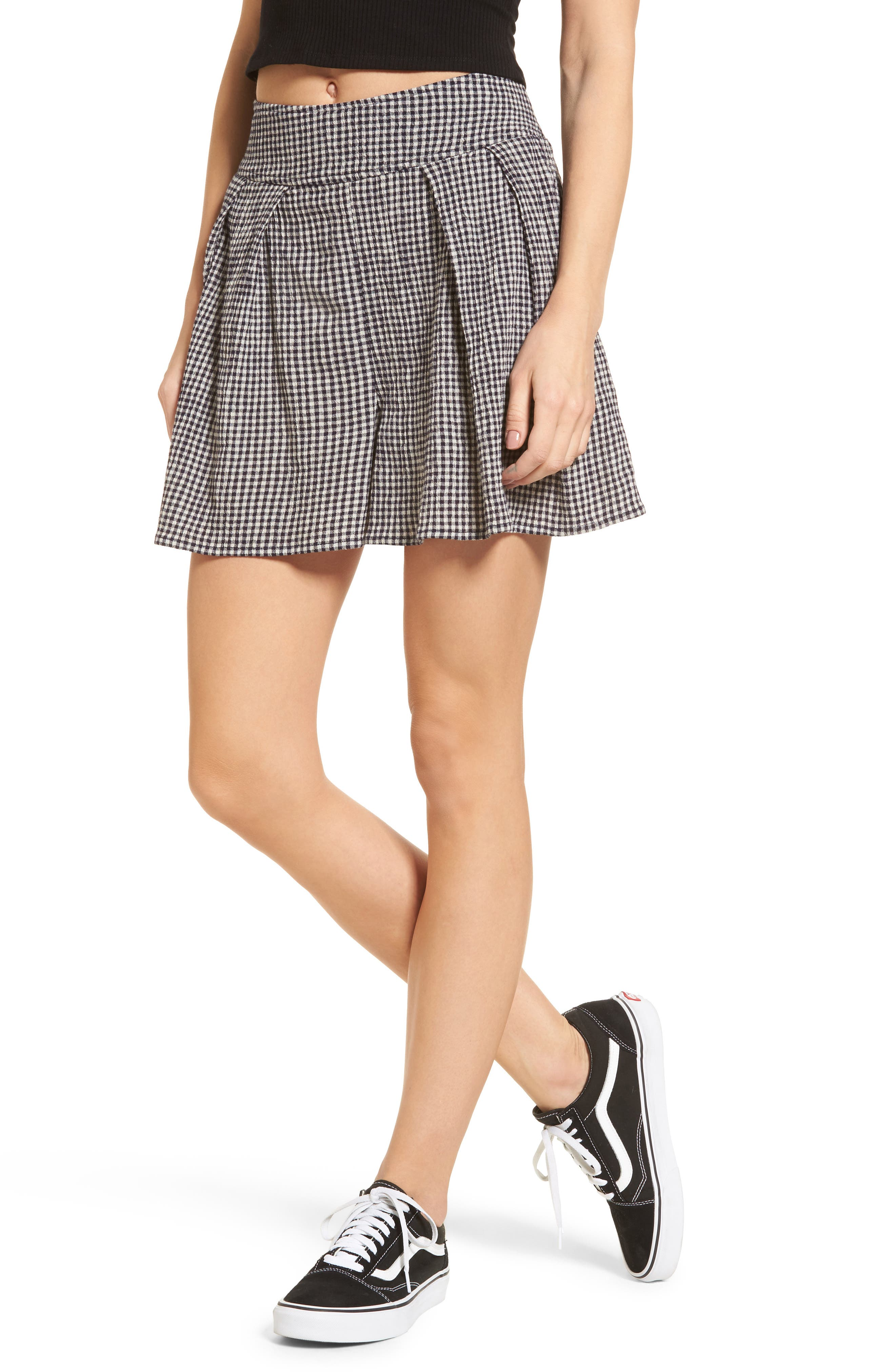 Pleated Gingham Shorts,                             Main thumbnail 1, color,                             Black Julie Gingham
