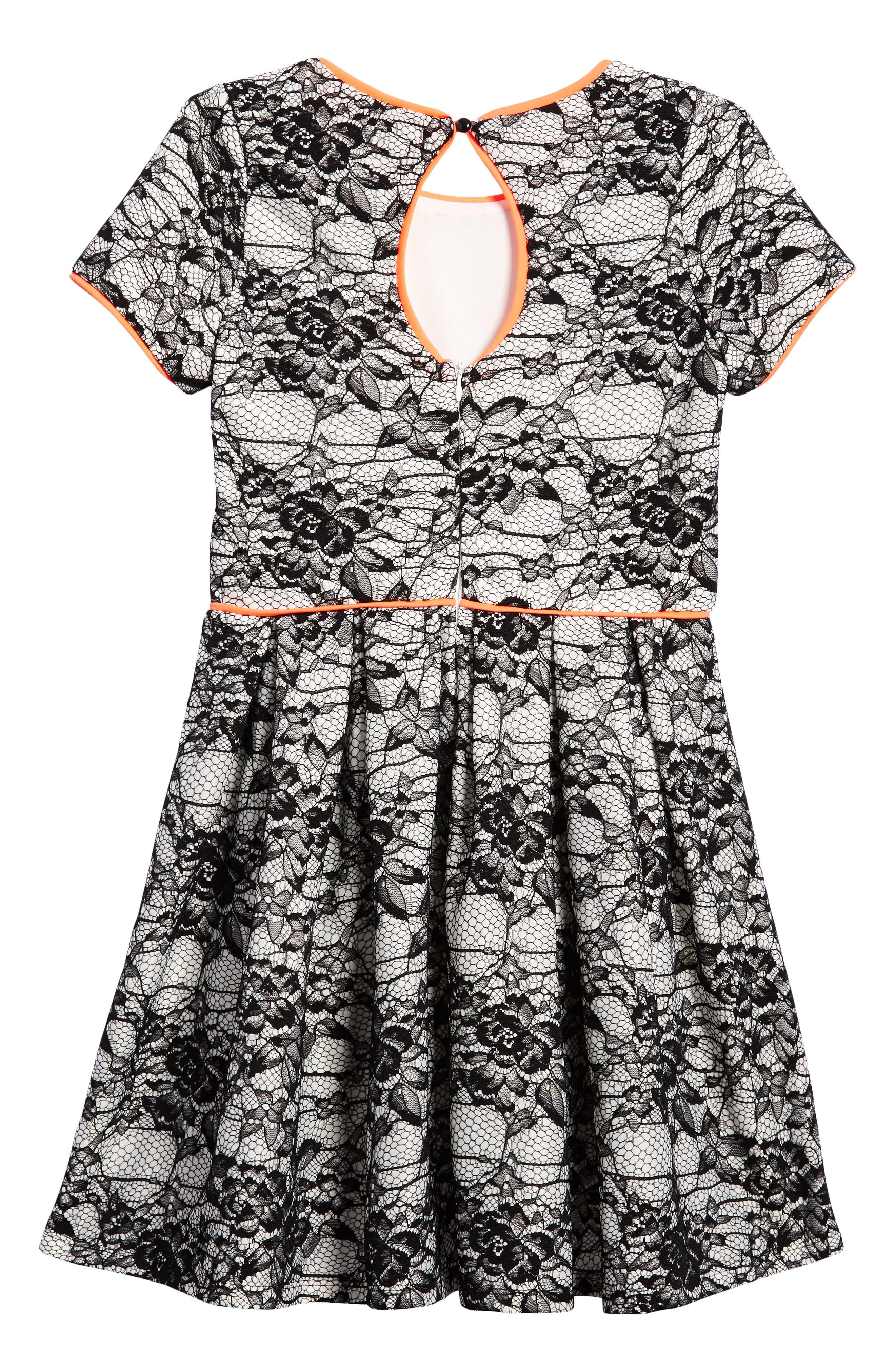 Lace Overlay Skater Dress,                             Alternate thumbnail 2, color,                             Black/ White