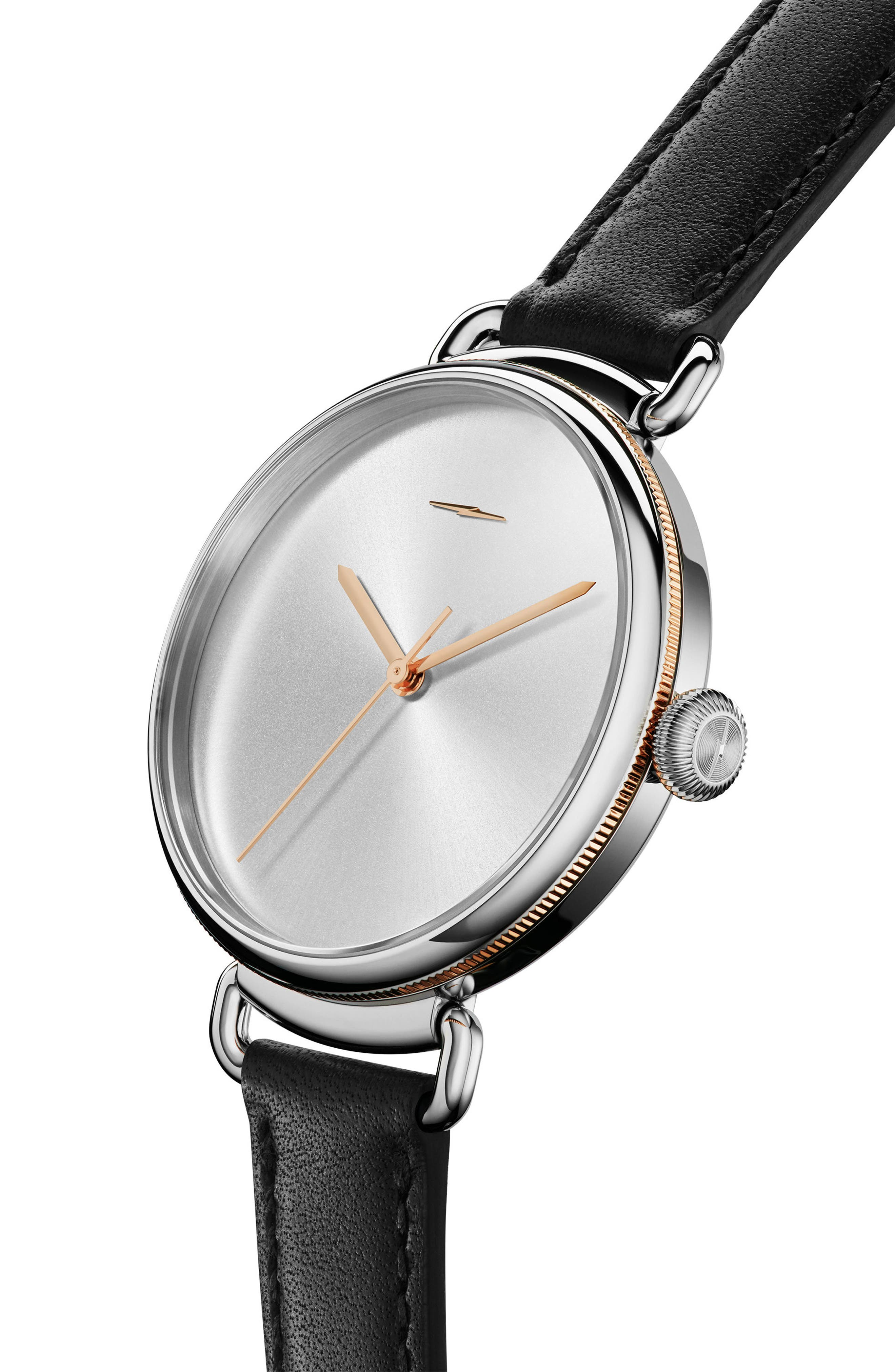 Bolt Leather Strap Watch, 38mm,                             Alternate thumbnail 4, color,                             Black/ Silver