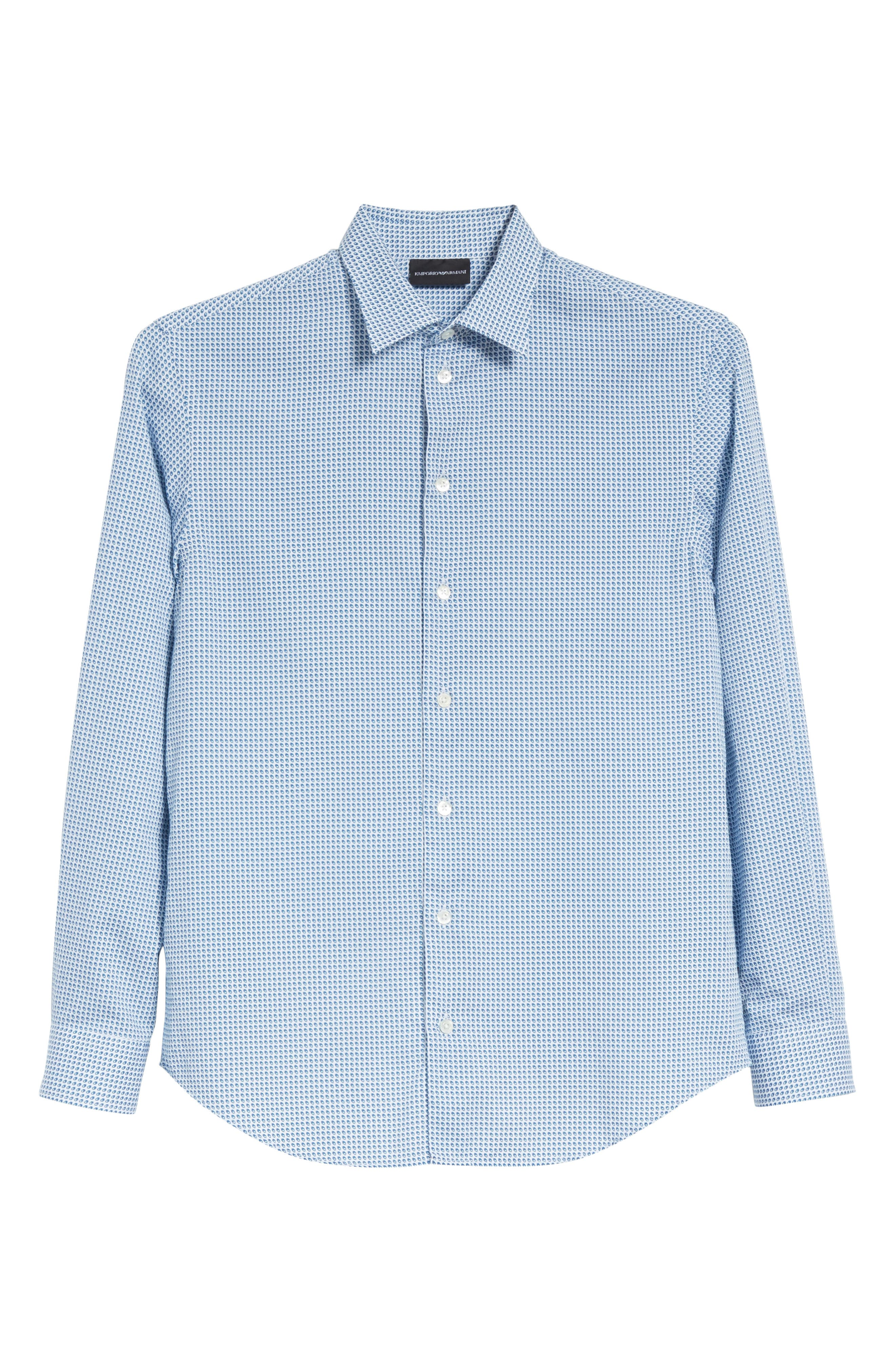 Geo Print Regular Fit Sport Shirt,                             Alternate thumbnail 6, color,                             Blue