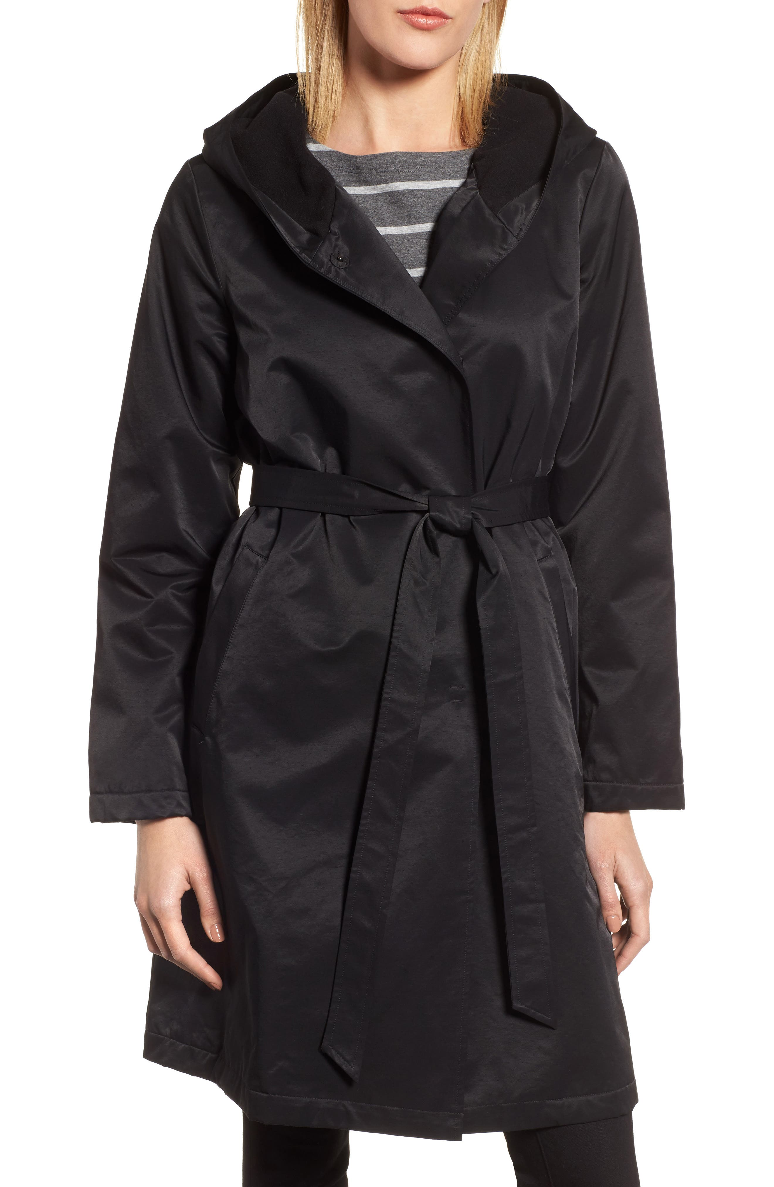 Fleece Lined Hooded Coat,                         Main,                         color, Black