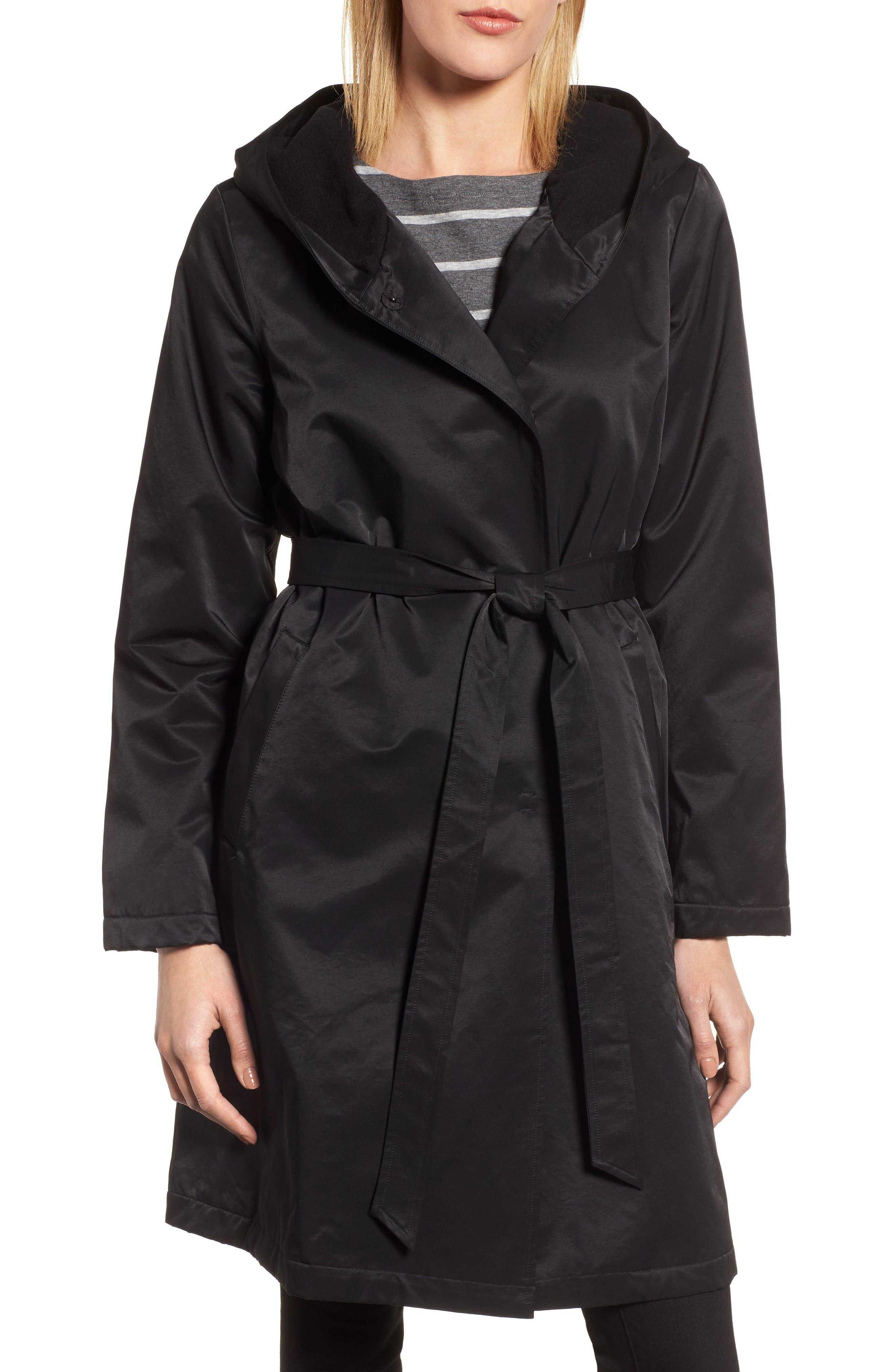 Eileen Fisher Fleece Lined Hooded Coat