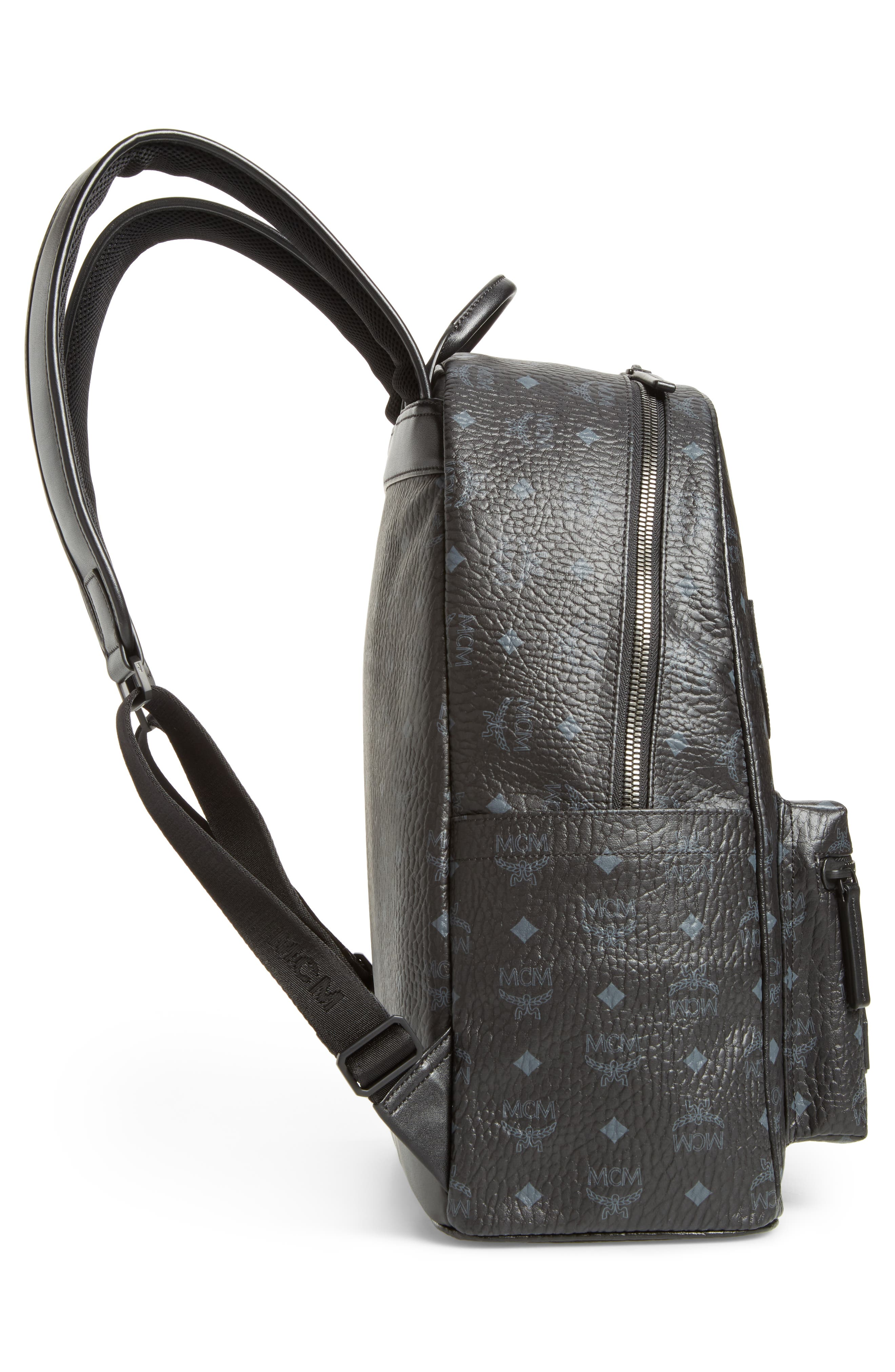 Stark Visetos Patch Faux Leather Backpack,                             Alternate thumbnail 4, color,                             Black
