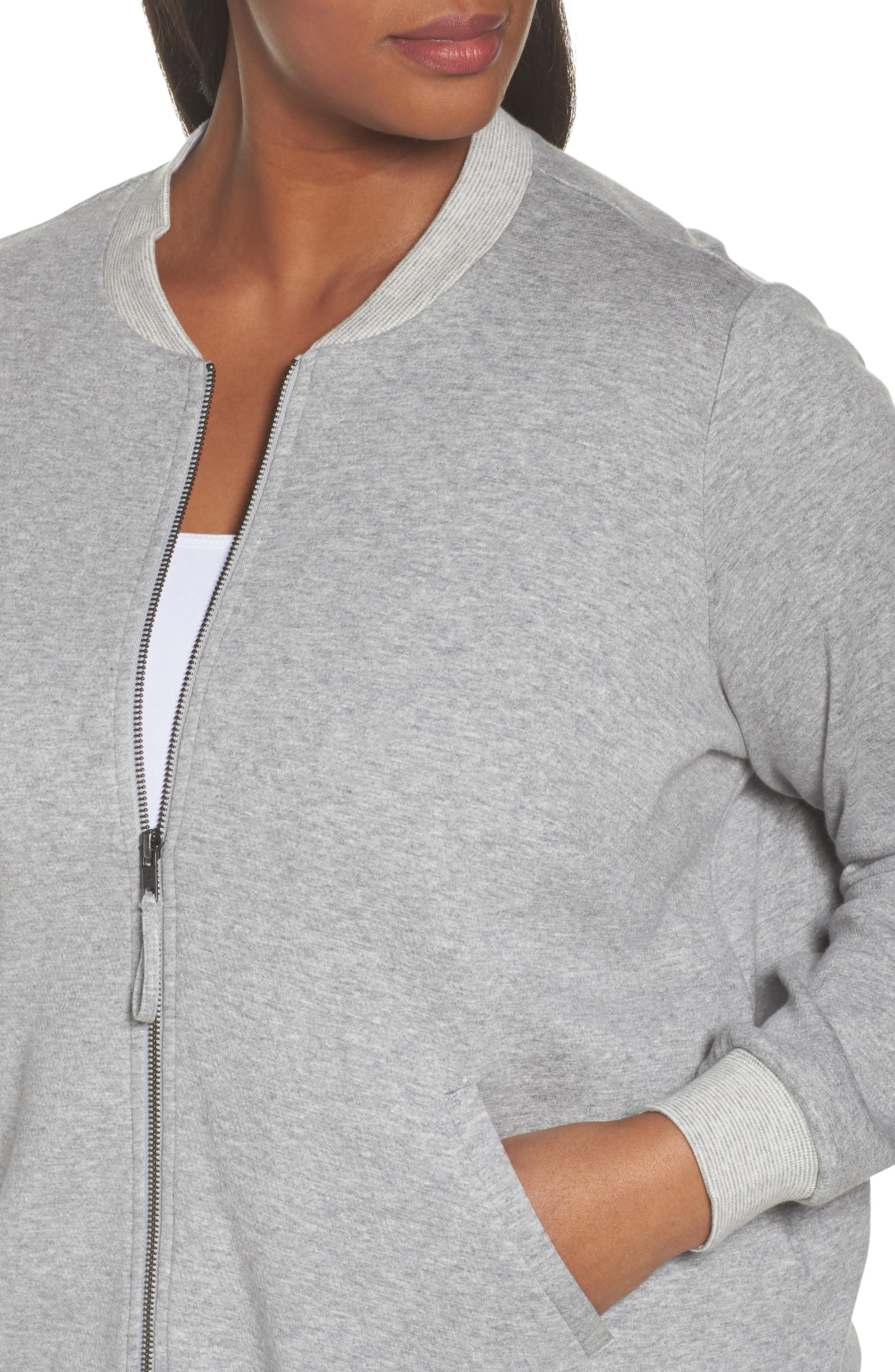 Alternate Image 4  - Eileen Fisher Knit Bomber Jacket (Plus Size)