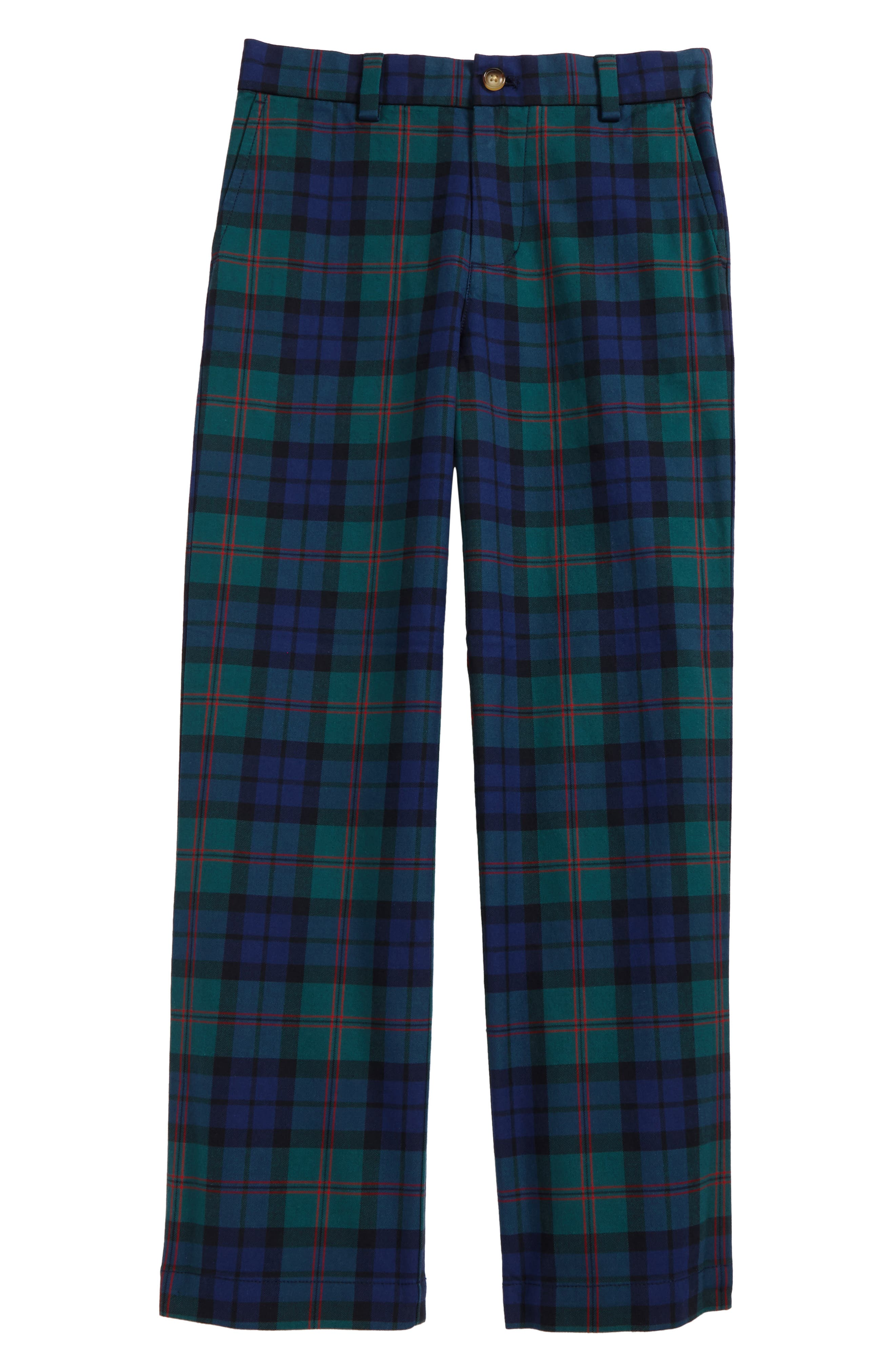 Holiday Black Watch Plaid Pants,                             Main thumbnail 1, color,                             Charleston Green