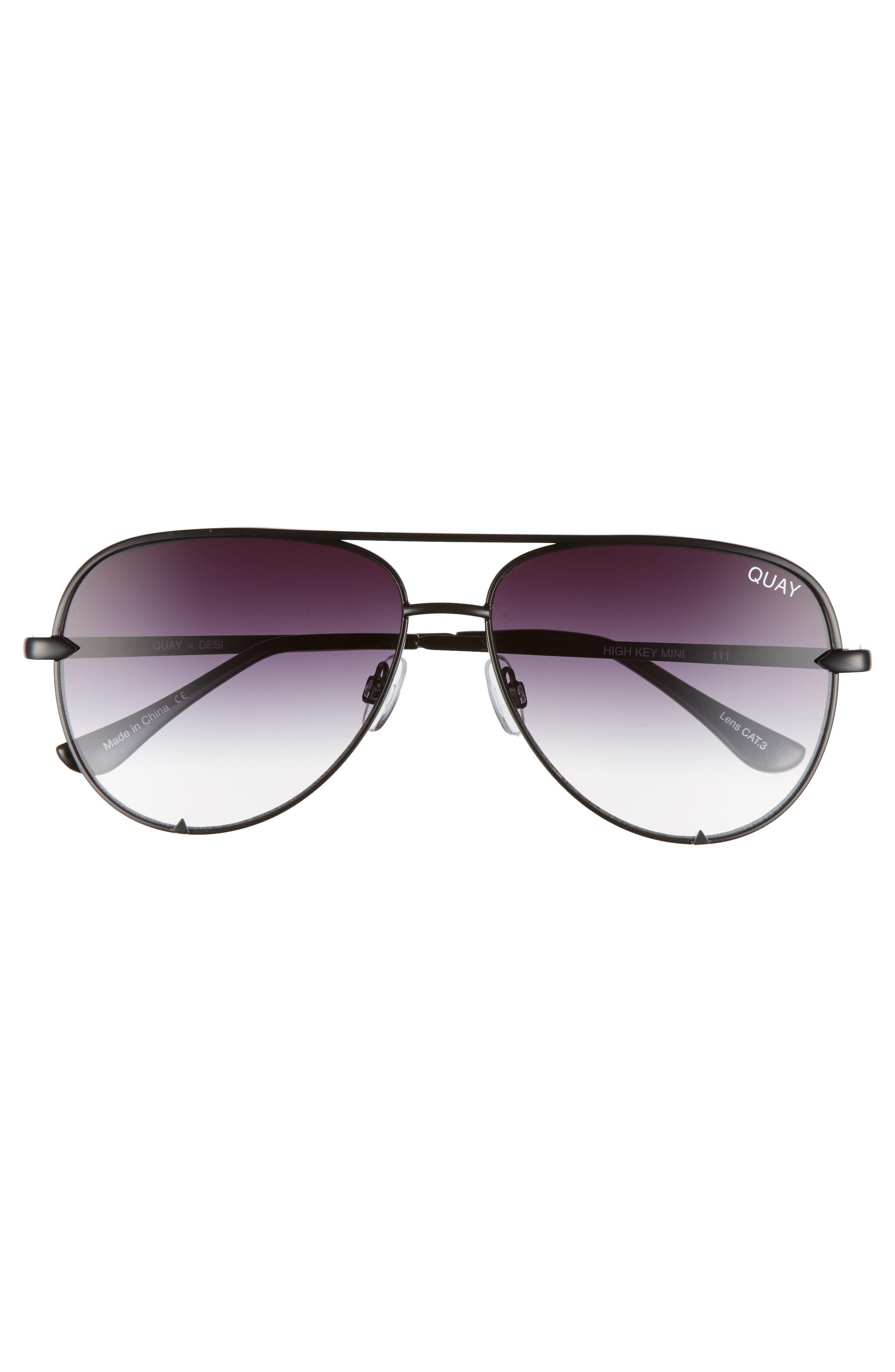 x Desi Perkins High Key Mini 57mm Aviator Sunglasses,                             Alternate thumbnail 5, color,                             Black/ Fade To Clear