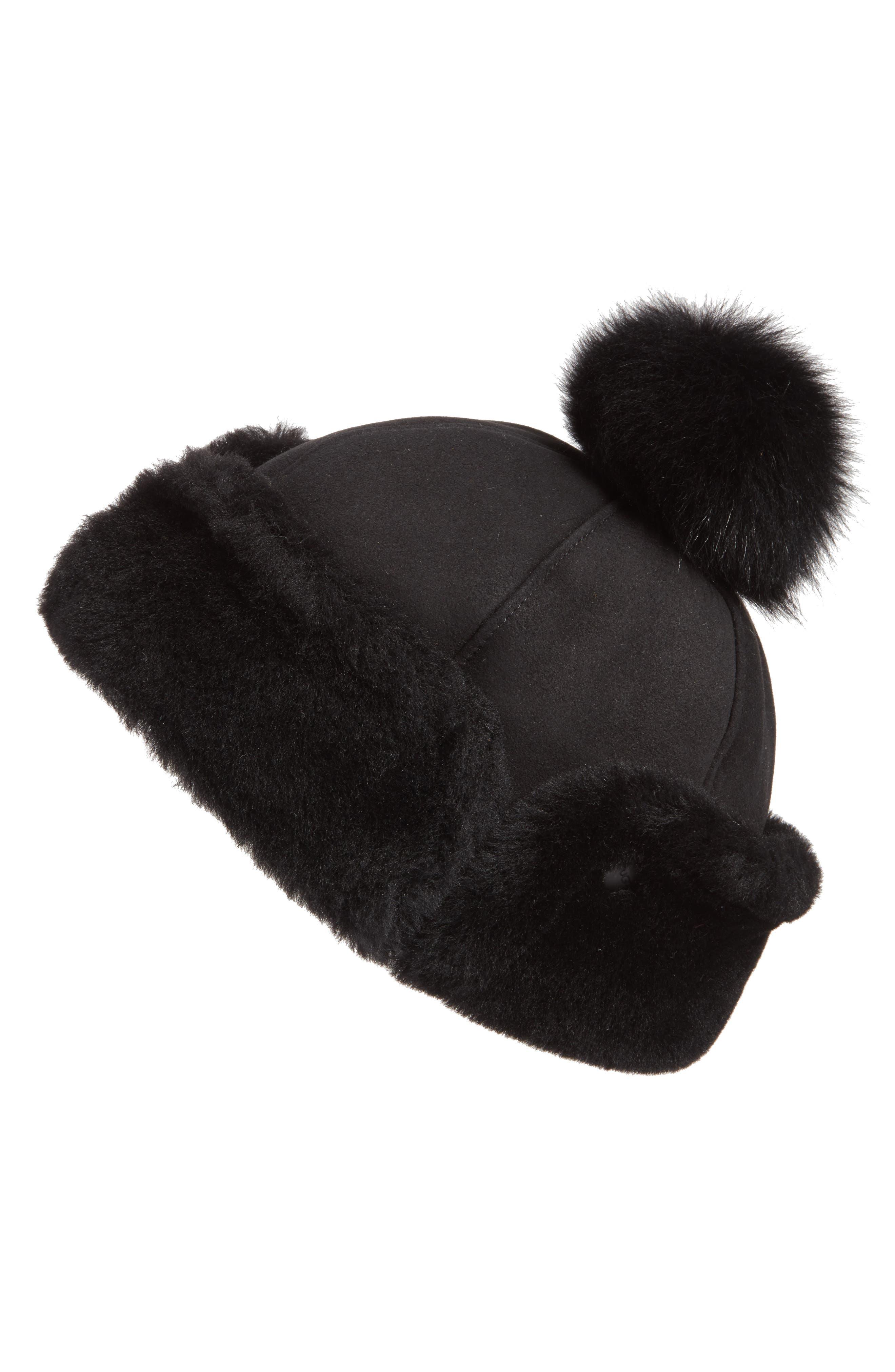 Genuine Shearling Pom Hat,                         Main,                         color, Black