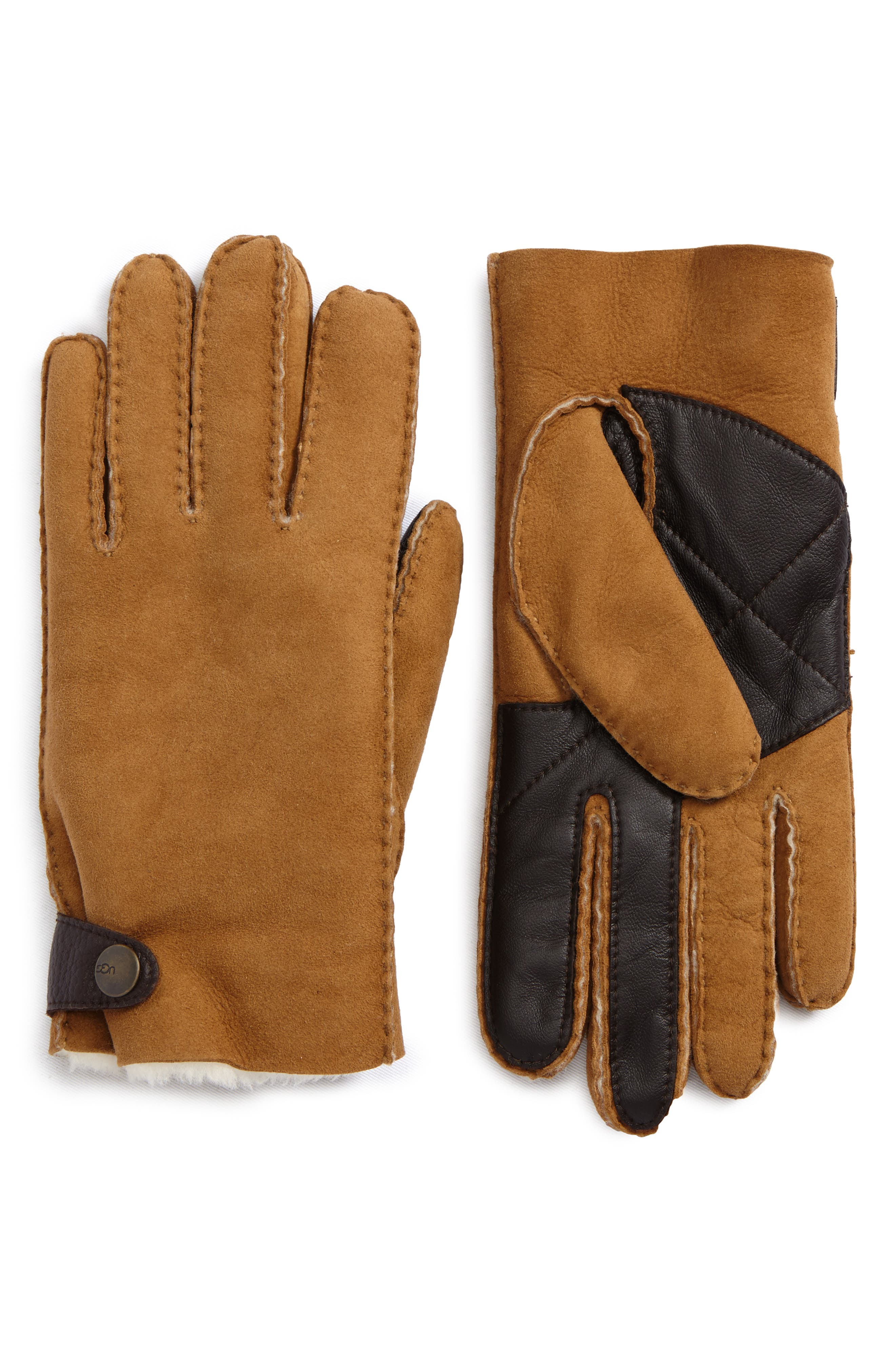 Shearling Tech Gloves,                             Main thumbnail 1, color,                             Chestnut