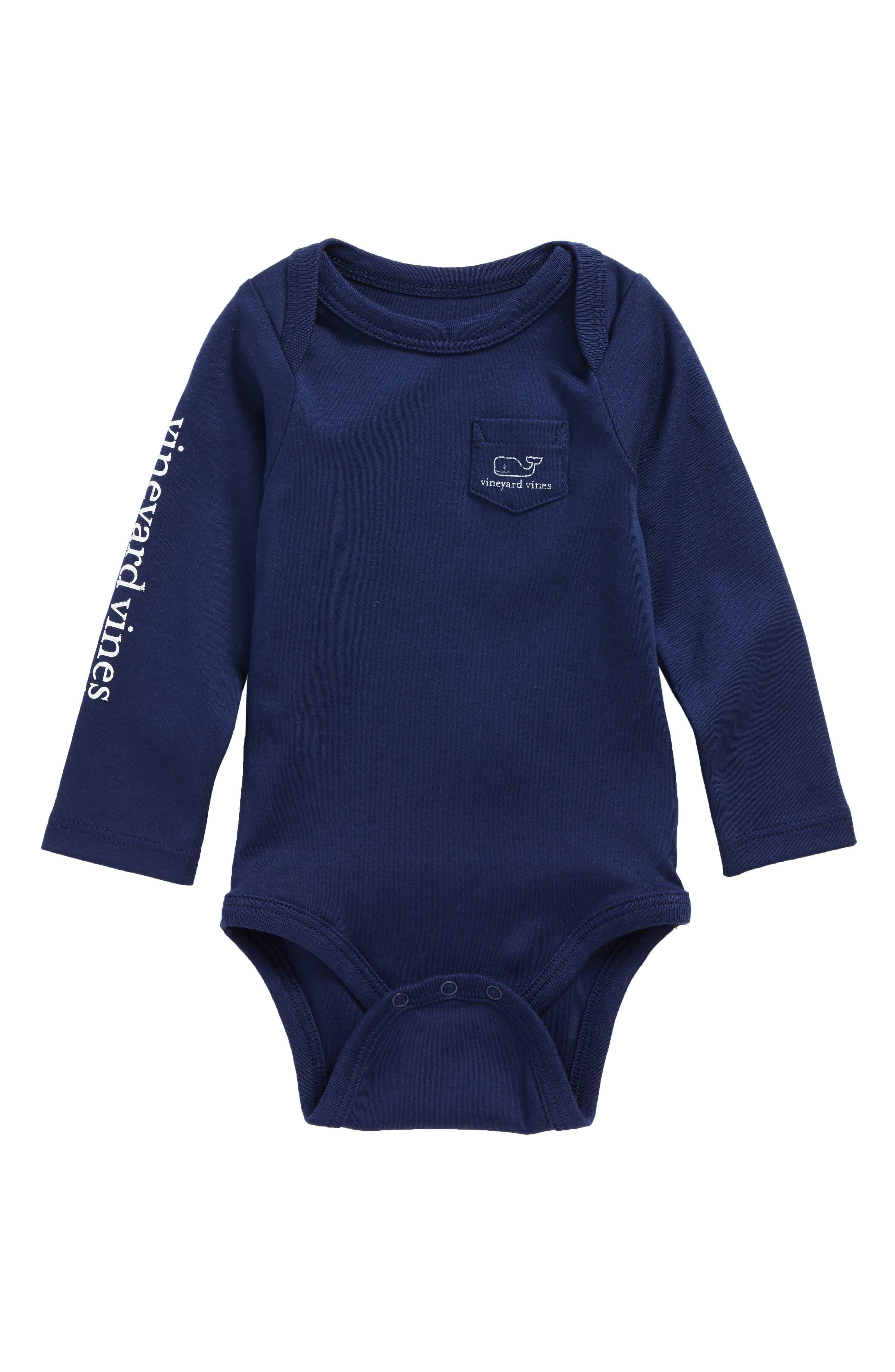 vineyard vines Vintage Whale Pocket Bodysuit (Baby)