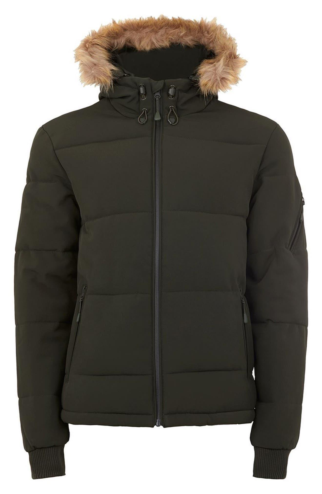 Maguire Faux Fur Trim Puffer Jacket,                             Alternate thumbnail 4, color,                             Green