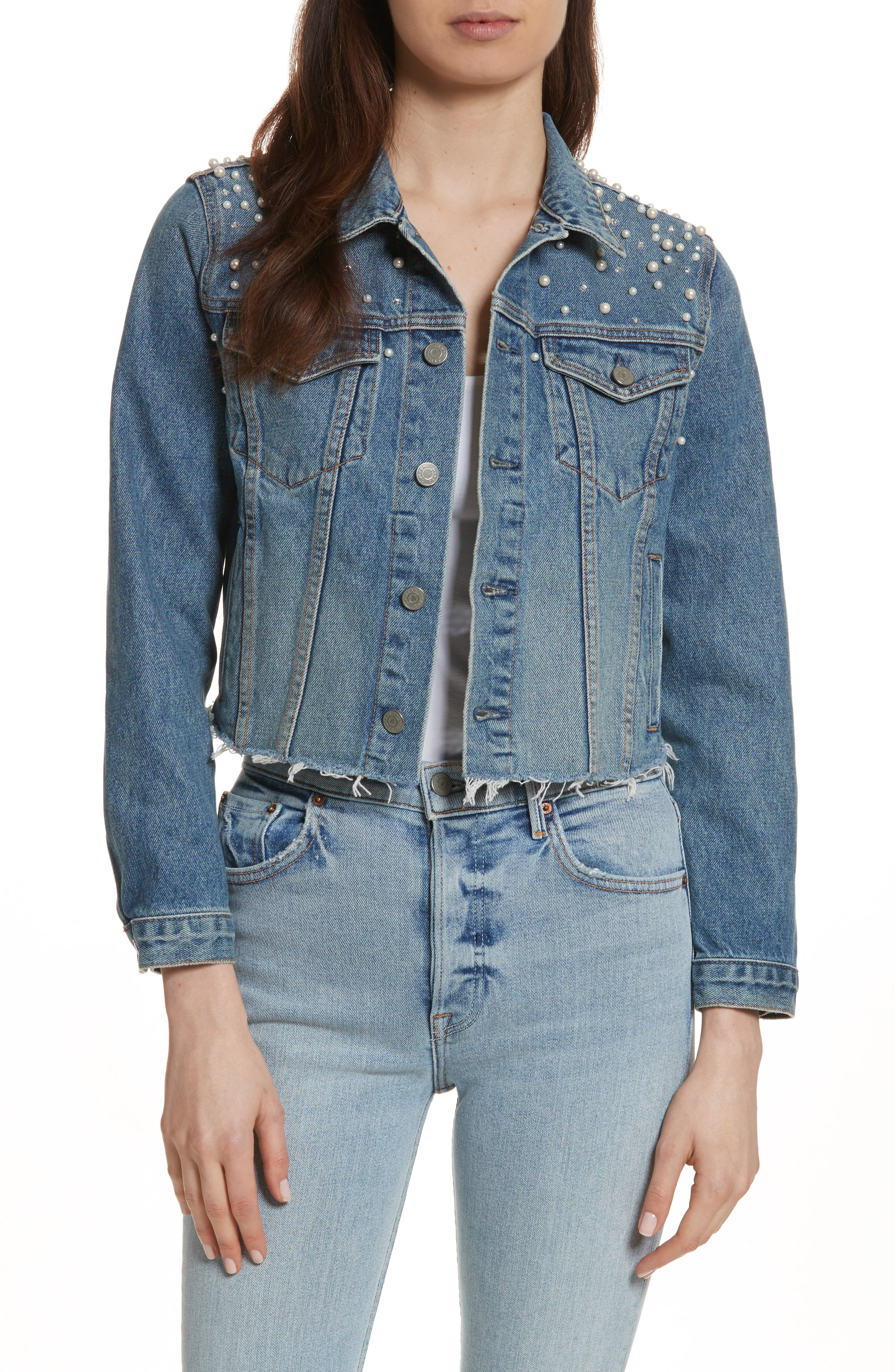 Eve Faux Pearl & Crystal Embellished Crop Denim Jacket,                         Main,                         color, Cosmic Ray