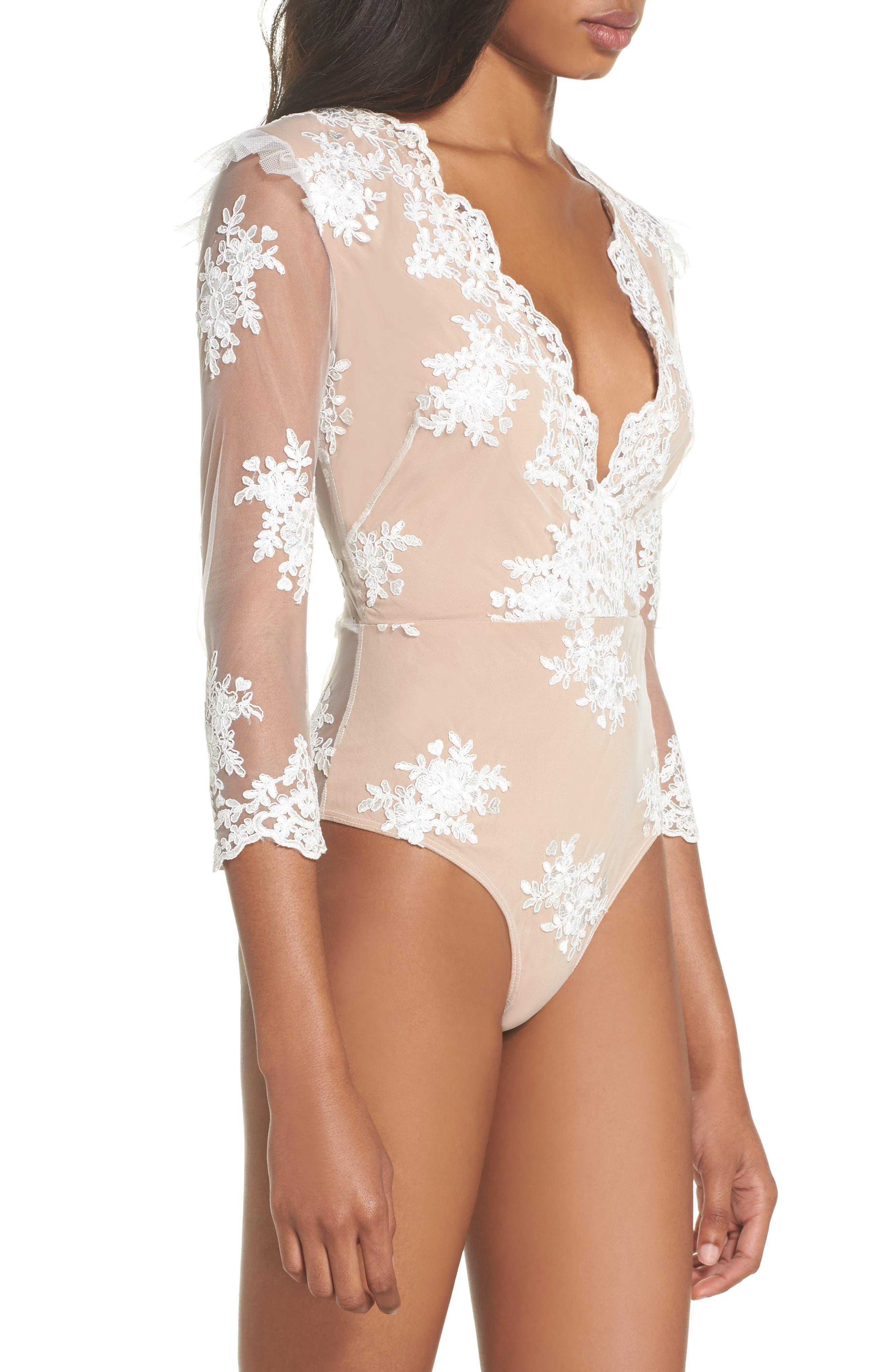 Amber Thong Bodysuit,                             Alternate thumbnail 3, color,                             Blanc