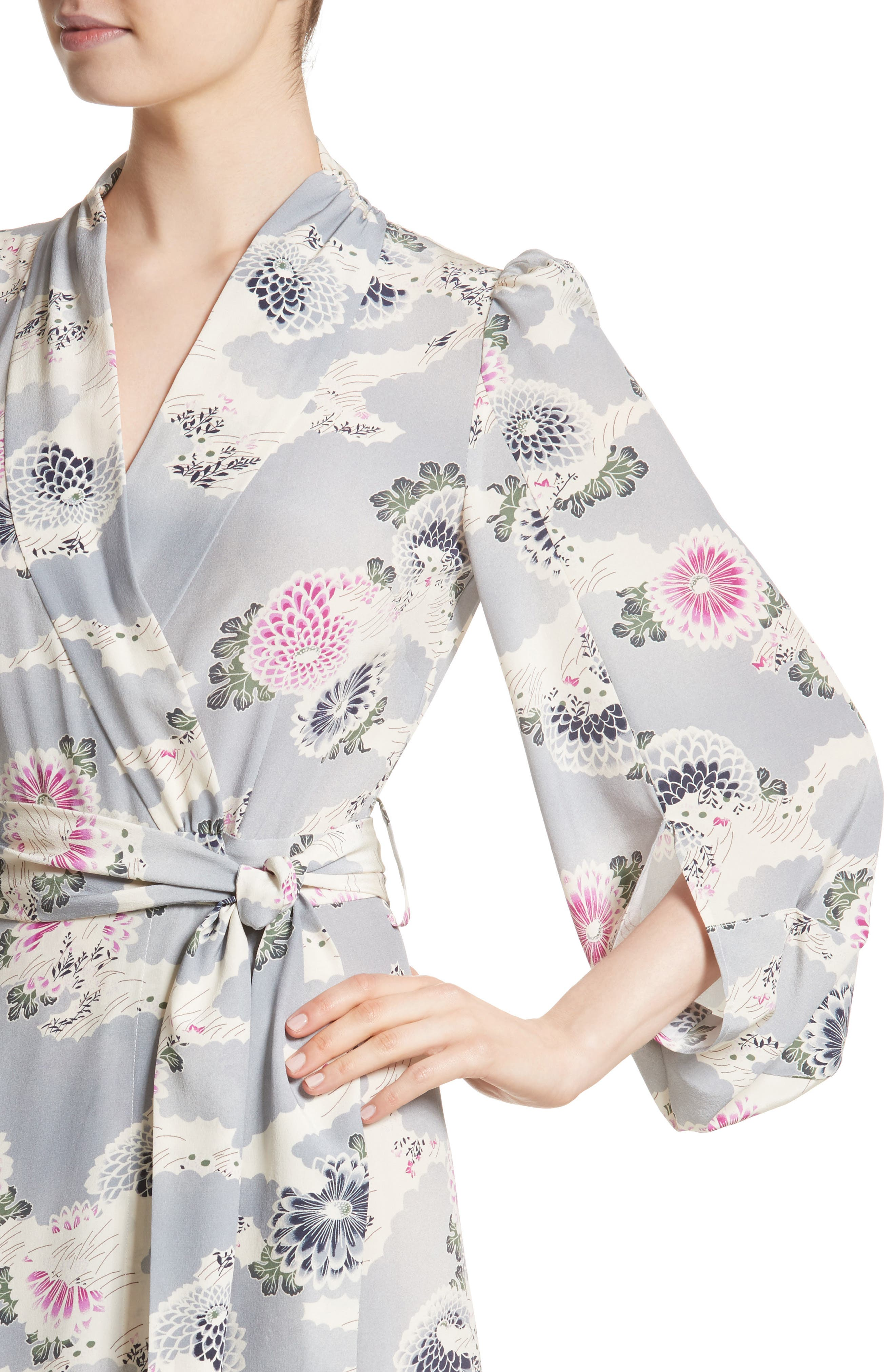 Floral Print Silk Crêpe de Chine Maxi Wrap Dress,                             Alternate thumbnail 6, color,                             Chrysanthemum Print