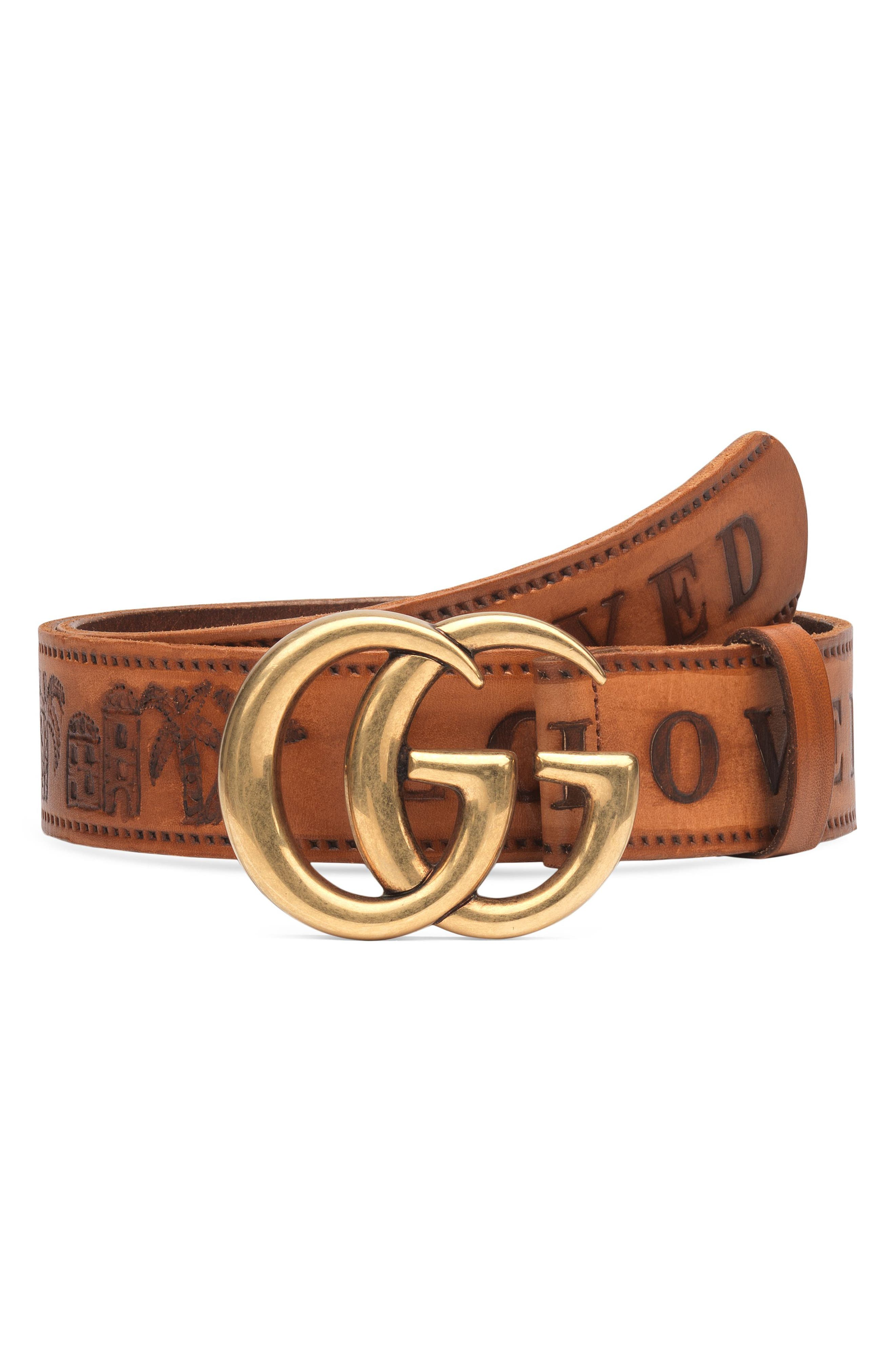 GG Logo Loved Calfskin Leather Belt,                             Main thumbnail 1, color,                             Cuoio/ Cuoio