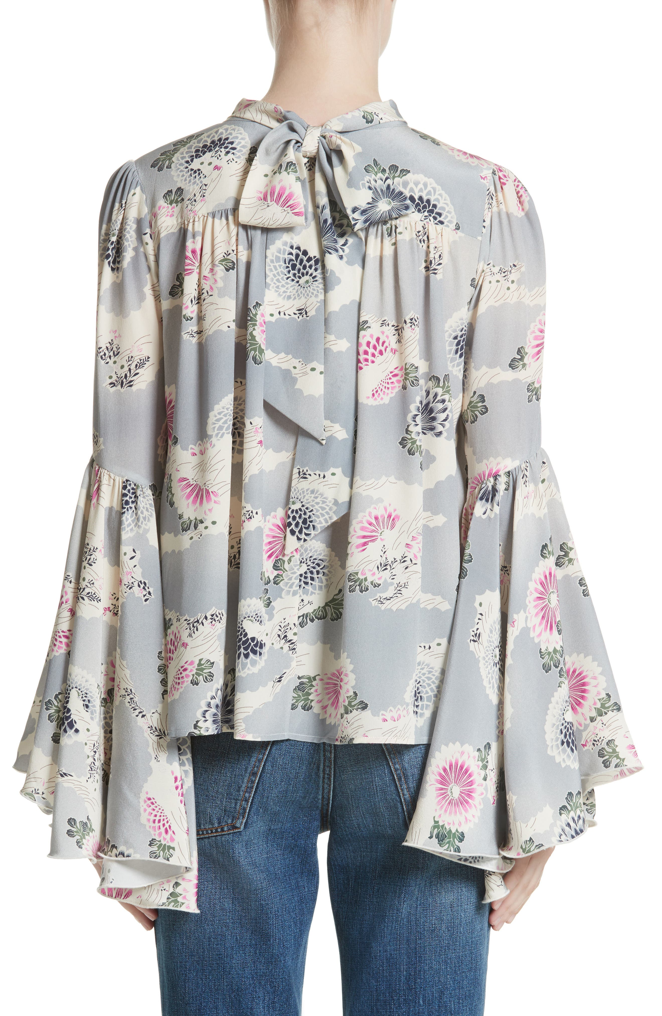 Flutter Sleeve Floral Print Silk Blouse,                             Alternate thumbnail 2, color,                             Chrysanthemum Print