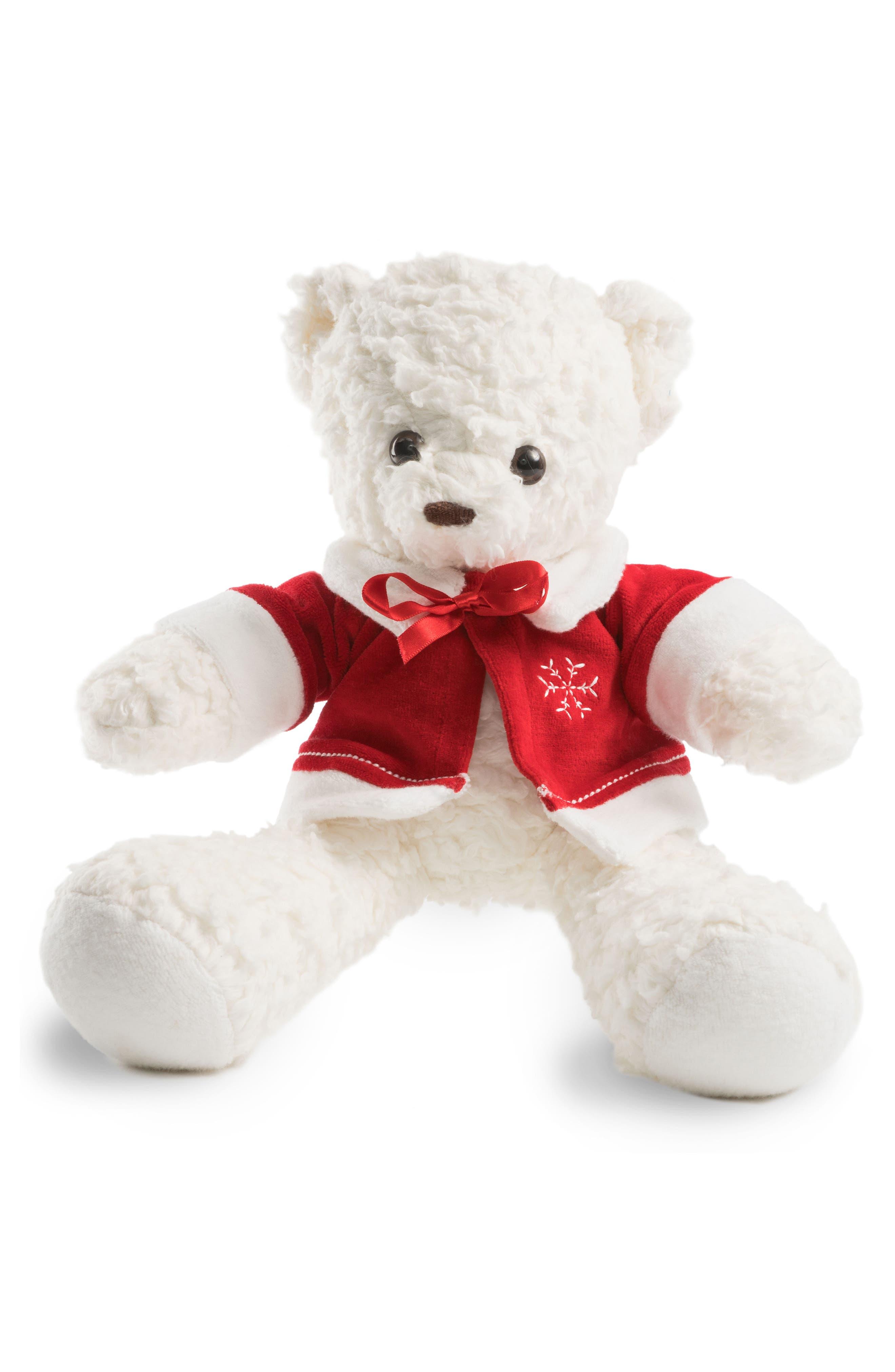 Medium Stuffed Bear with Holiday Jacket,                             Main thumbnail 1, color,                             White