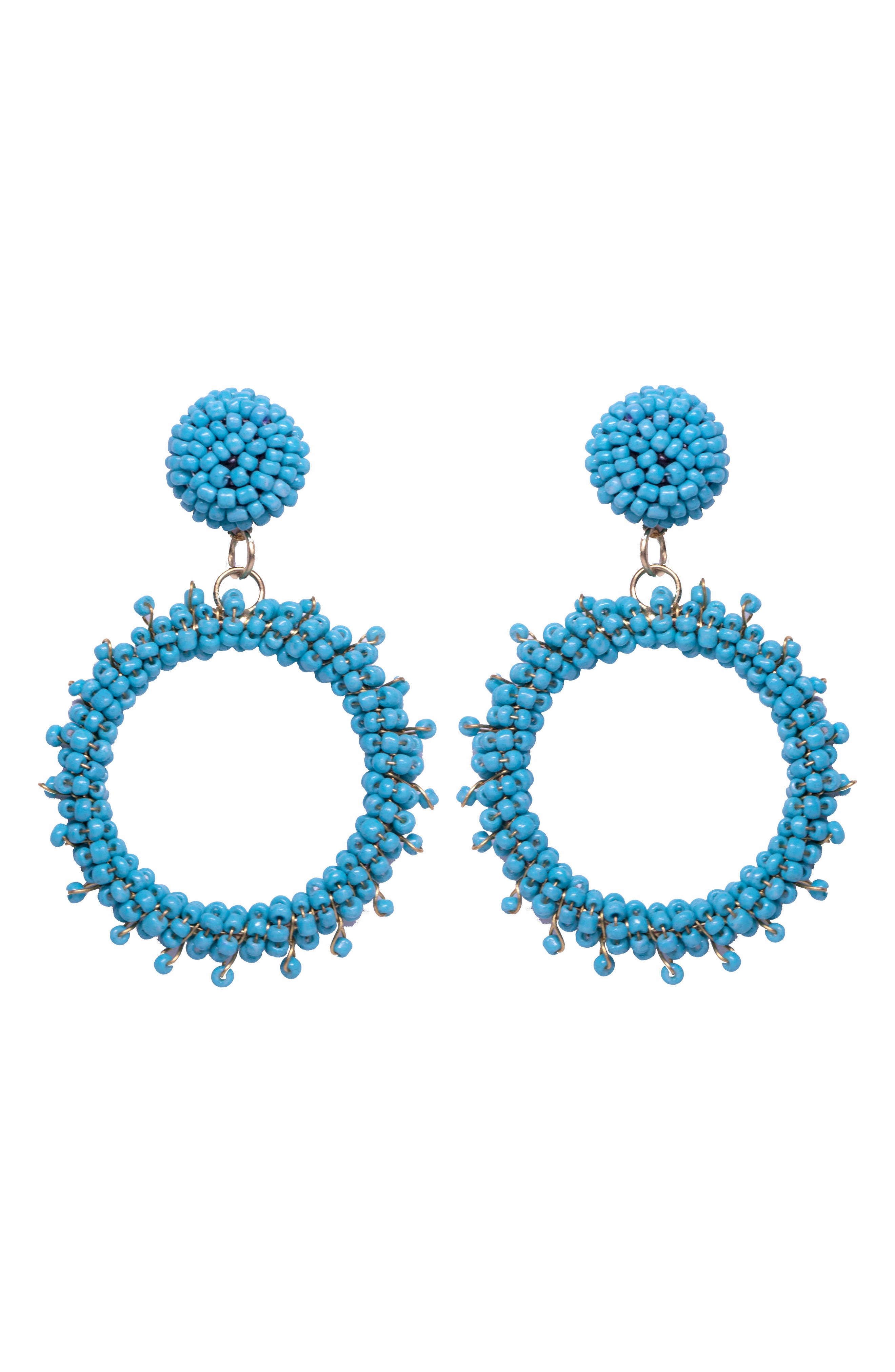 Marie Drop Earrings,                         Main,                         color, Turquoise