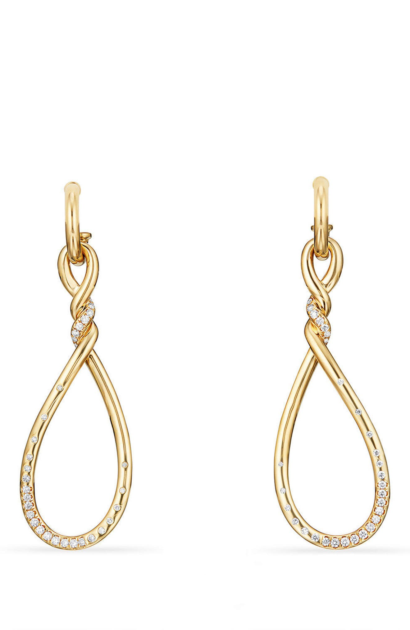 david yurman continuance large drop earrings with diamonds in 18k gold