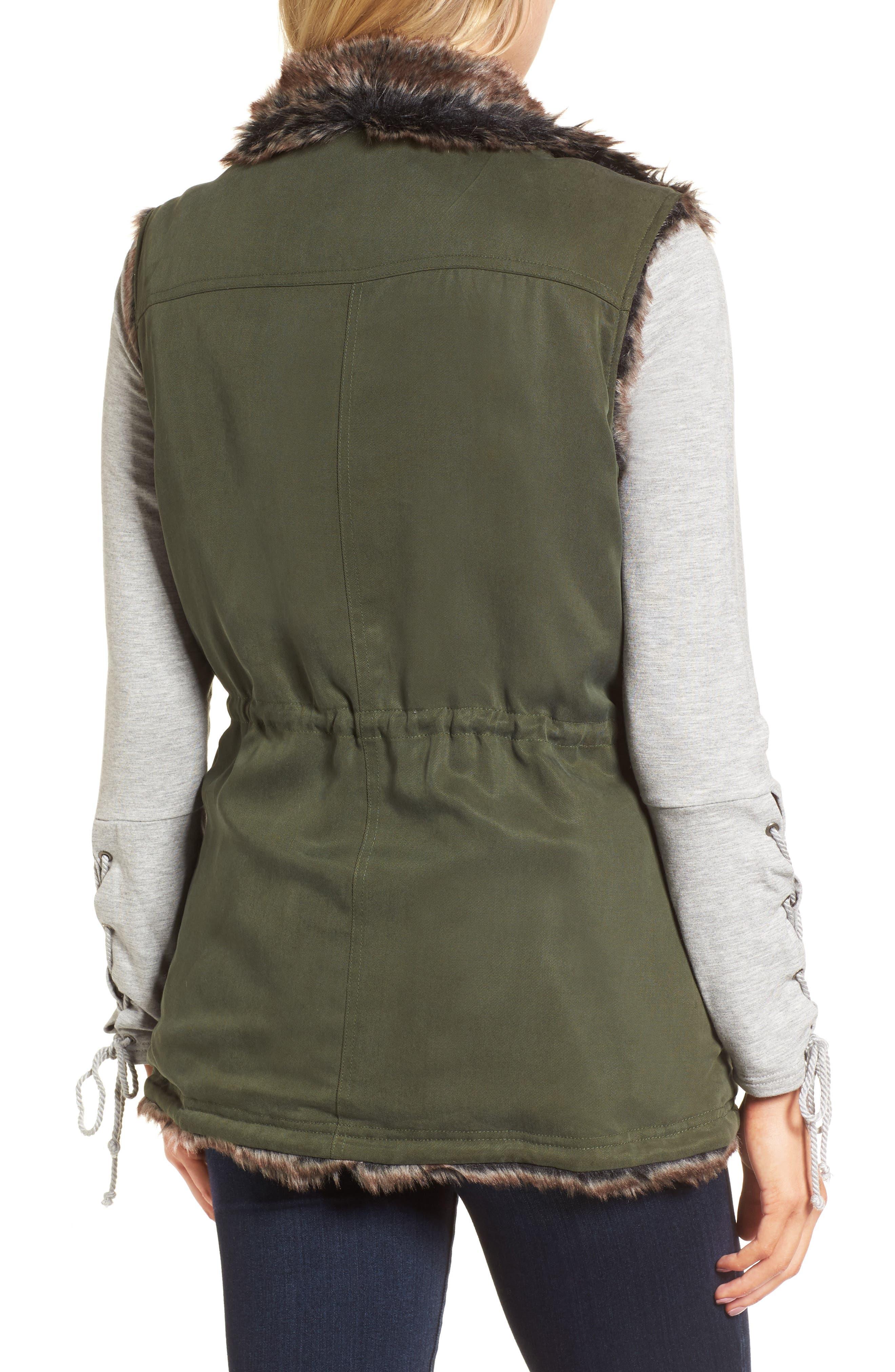 Ashling Faux Fur Lined Utility Vest,                             Alternate thumbnail 2, color,                             Army