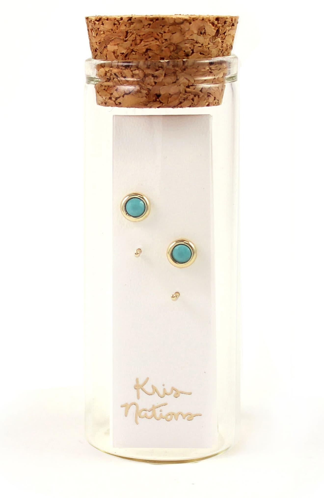 Alternate Image 2  - Kris Nations Tiny Stone Hoop Earrings