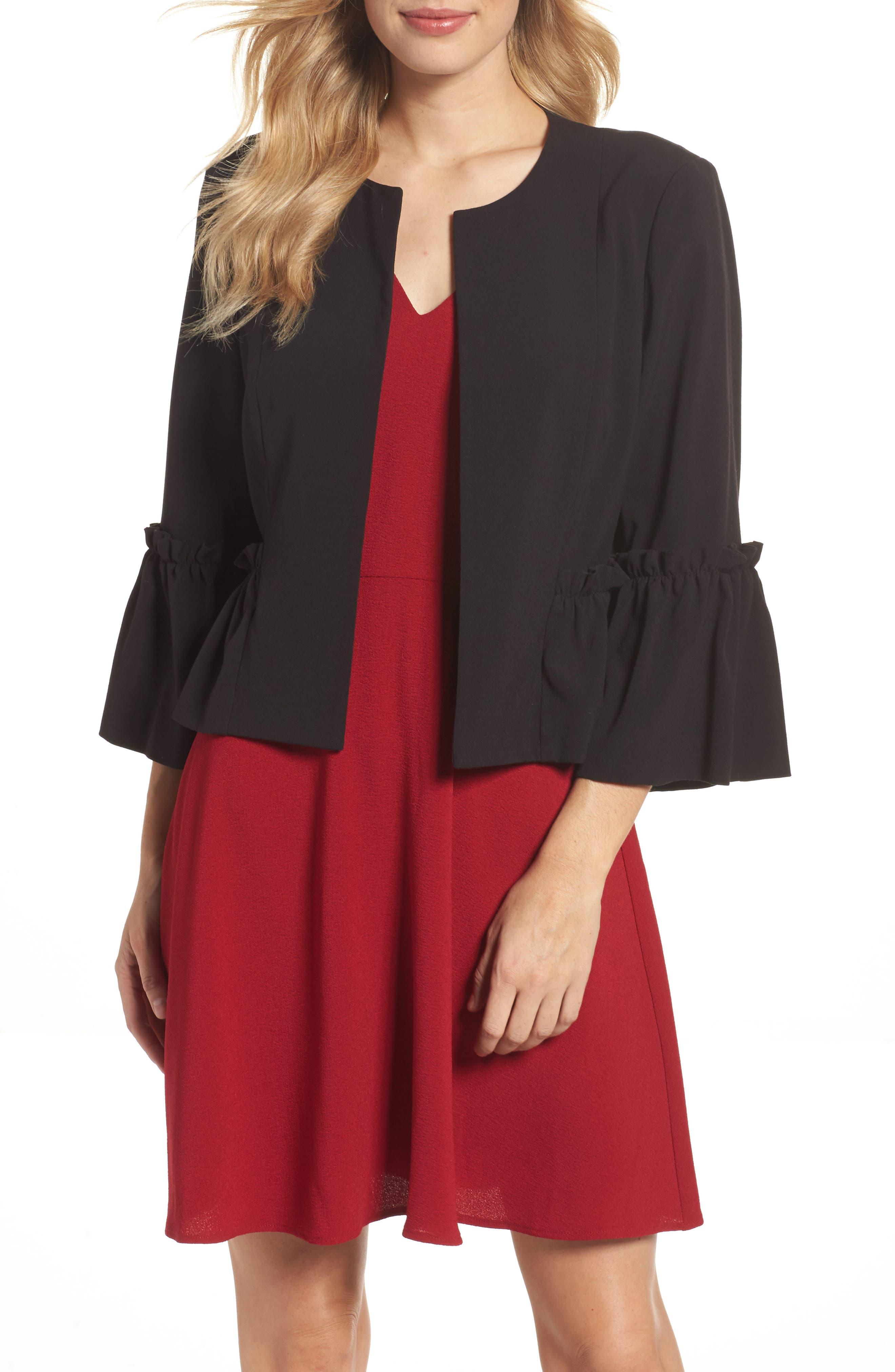 Bell Sleeve Crop Jacket,                             Main thumbnail 1, color,                             Black